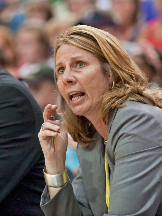 Jun 27, 2012; Minneapolis, MN, USA; Minnesota Lynx head coach Cheryl Reeve calls a play against the Phoenix Mercury during the first quarter at Target Center. Lynx won 96-80. Mandatory Credit:  Greg Smith-US PRESSWIRE