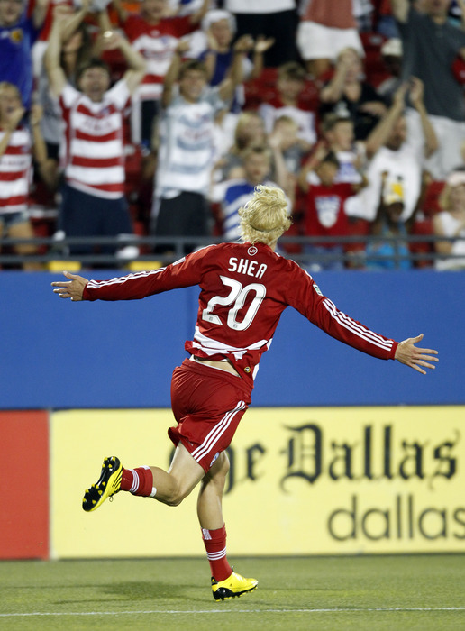 FRISCO, TX - JUNE 5: Brek Shea #20 of FC Dallas celebrates his goal  with fans against the San Jose Earthquake at Pizza Hut Park on June 5, 2010 in Frisco, Texas. FC Dallas won 2-0. (Photo by Layne Murdoch/Getty Images)