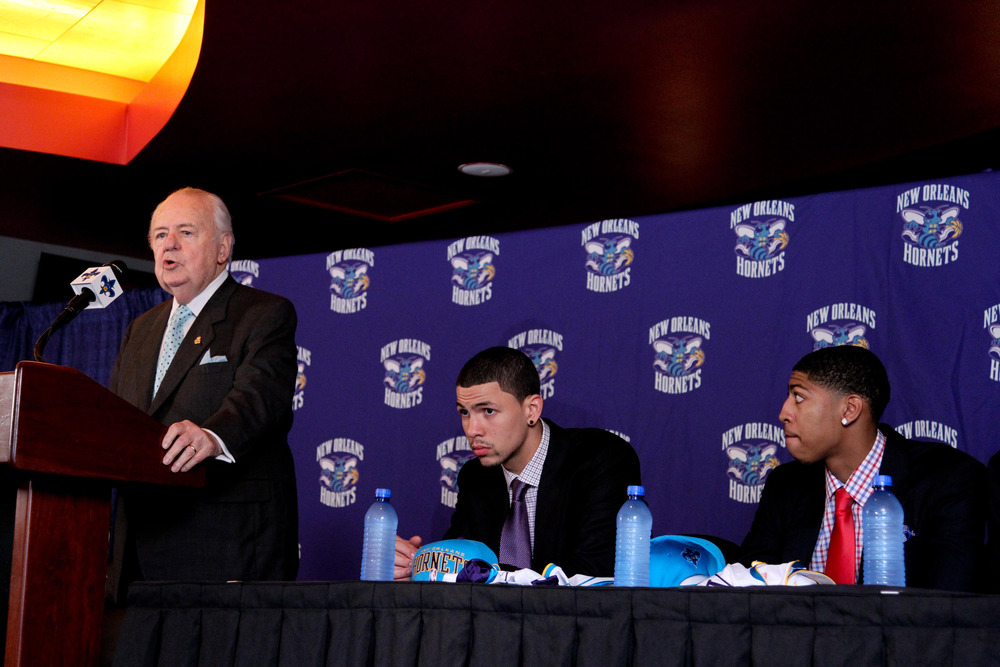 June 29, 2012; New Orleans, LA, USA; New Orleans Hornets owner Tom Benson with first round selections Austin Rivers and Anthony Davis during a press conference at the New Orleans Arena.   Mandatory Credit: Derick E. Hingle-US PRESSWIRE