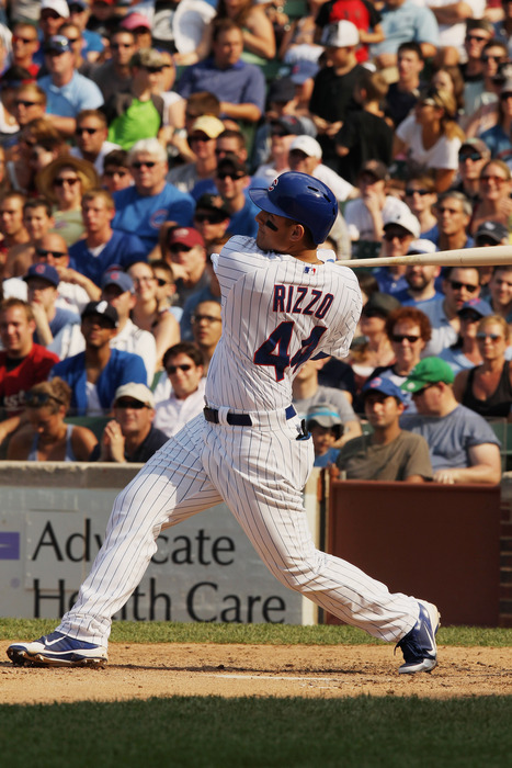 CHICAGO, IL - JUNE 30:  Anthony Rizzo #44 of the Chicago Cubs hits a two-run home run in the fifth inning during the game against the Houston Astros at Wrigley Field on June 30, 2012 in Chicago, Illinois.  (Photo by Scott Halleran/Getty Images)