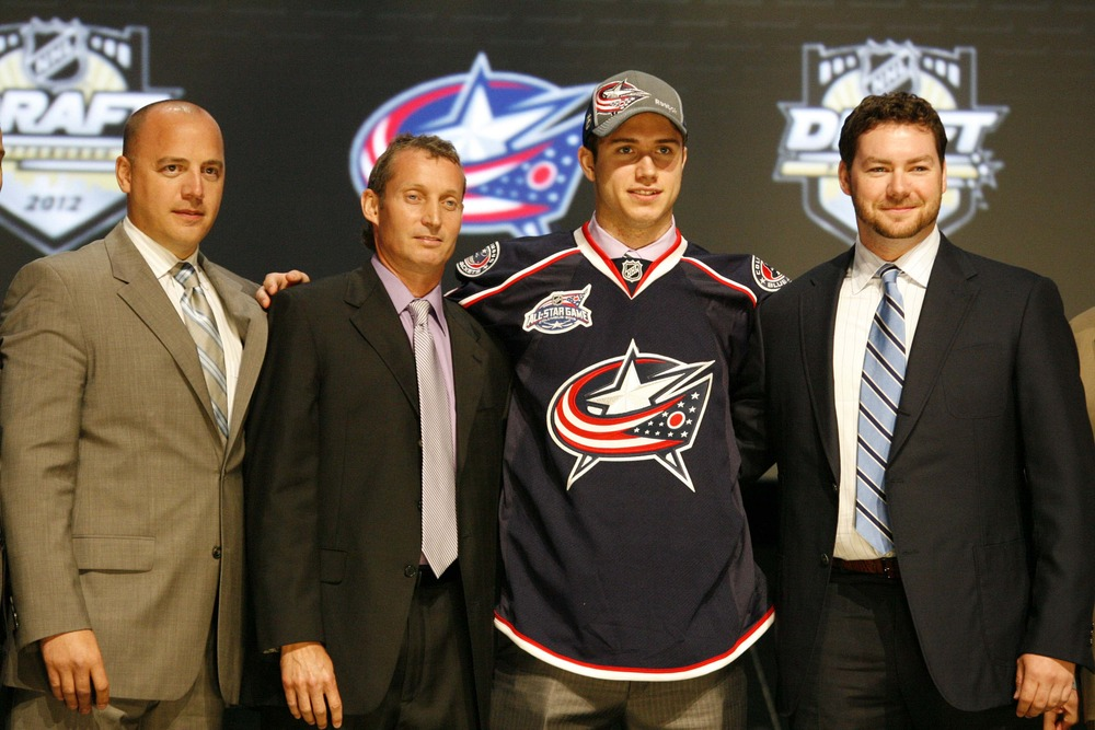 June 22, 2012; Pittsburgh, PA, USA; Ryan Murray from the Everett Silvertips (WHL) is selected second overall by the Columbus Blue Jackets in the 2012 NHL Draft at CONSOL Energy Center.  Mandatory Credit: Charles LeClaire-US PRESSWIRE