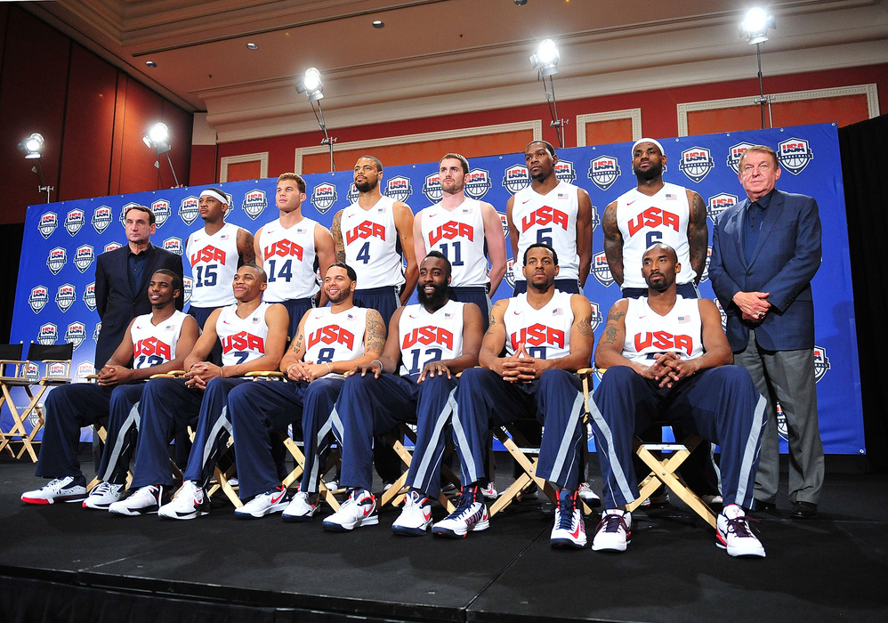 July 7, 2012; Las Vegas, NV, USA; The 2012 USA National Basketball team for the 2012 Olympics is presented following a press conference at the Wynn Las Vegas Resort. Mandatory Credit: Gary A. Vasquez-US PRESSWIRE