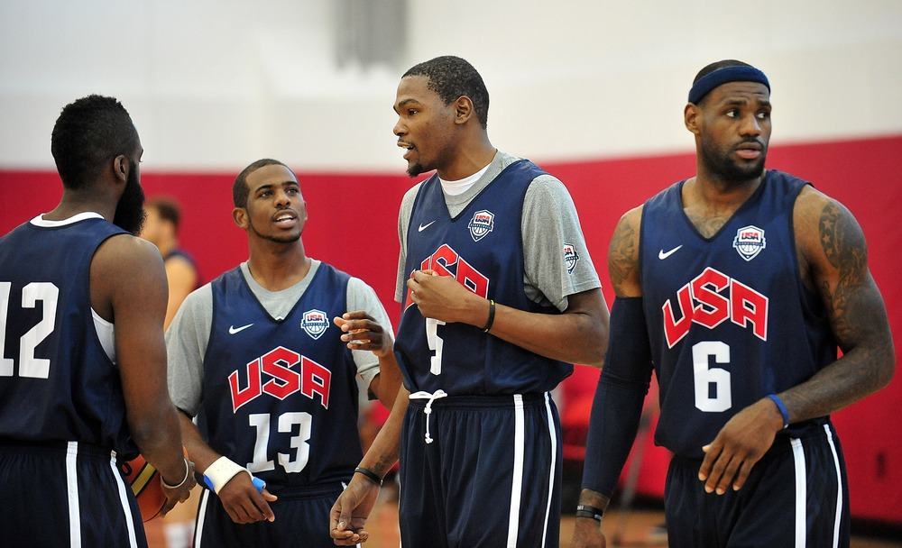 July 8, 2012; Las Vegas, NV, USA; Team USA guard James Harden, guard Chris Paul, guard Kevin Durant and forward LeBron James during practice at the UNLV Mendenhall Center. Mandatory Credit: Gary A. Vasquez-US PRESSWIRE