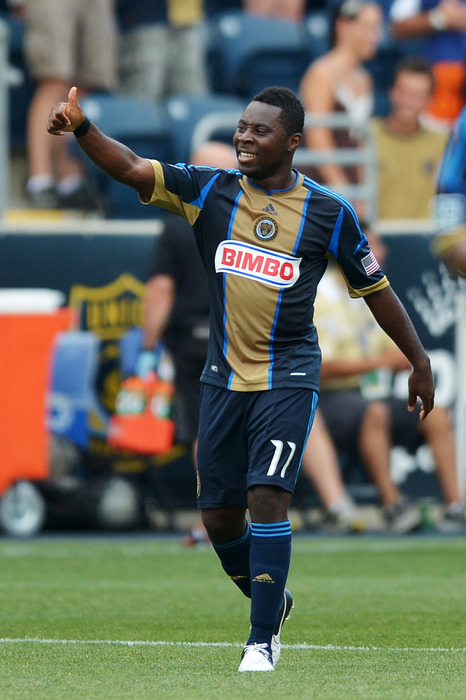 CHESTER, PA- JULY 08: Freddy Adu #11 of the Philadelphia Union celebrates a goal during the game against Toronto FC at PPL Park on July 8, 2012 in Chester, Pennsylvania. (Photo by Drew Hallowell/Getty Images)