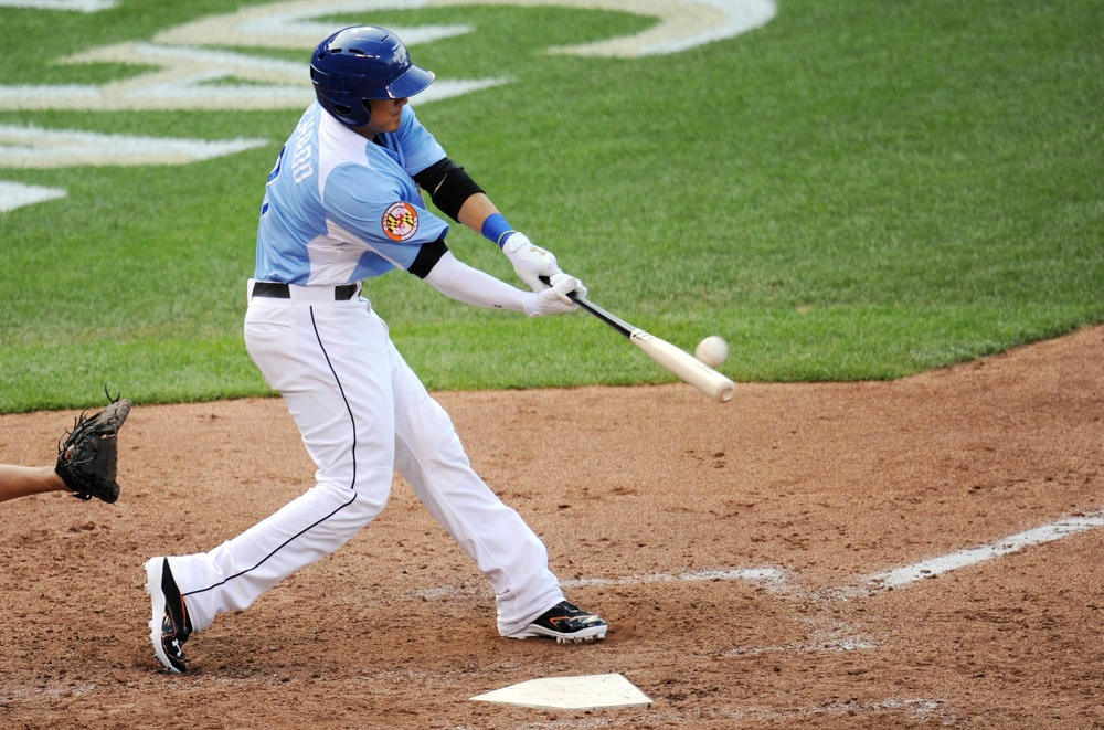 July 8, 2012; Kansas City, MO, USA; USA infielder Manny Machado hits a two-run double during the sixth inning of the 2012 All Star Futures Game at Kauffman Stadium.  Mandatory Credit: Peter G. Aiken-US PRESSWIRE