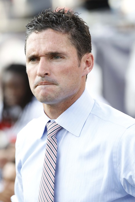 July 8, 2012; Foxboro, Massachusetts, USA;New England Revolution head coach Jay Heaps during the first half against the New York Red Bulls at Gillette Stadium.  Mandatory Credit: Greg M. Cooper-US PRESSWIRE
