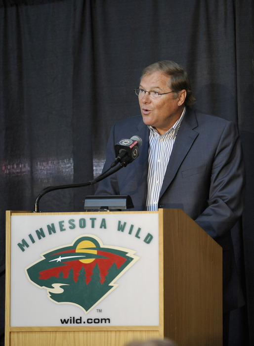 ST PAUL, MN - JULY 9: Craig Leipold, owner of the Minnesota Wild speaks during a press conference on July 9, 2012 at Xcel Energy Center in St Paul, Minnesota. (Photo by Hannah Foslien/Getty Images)