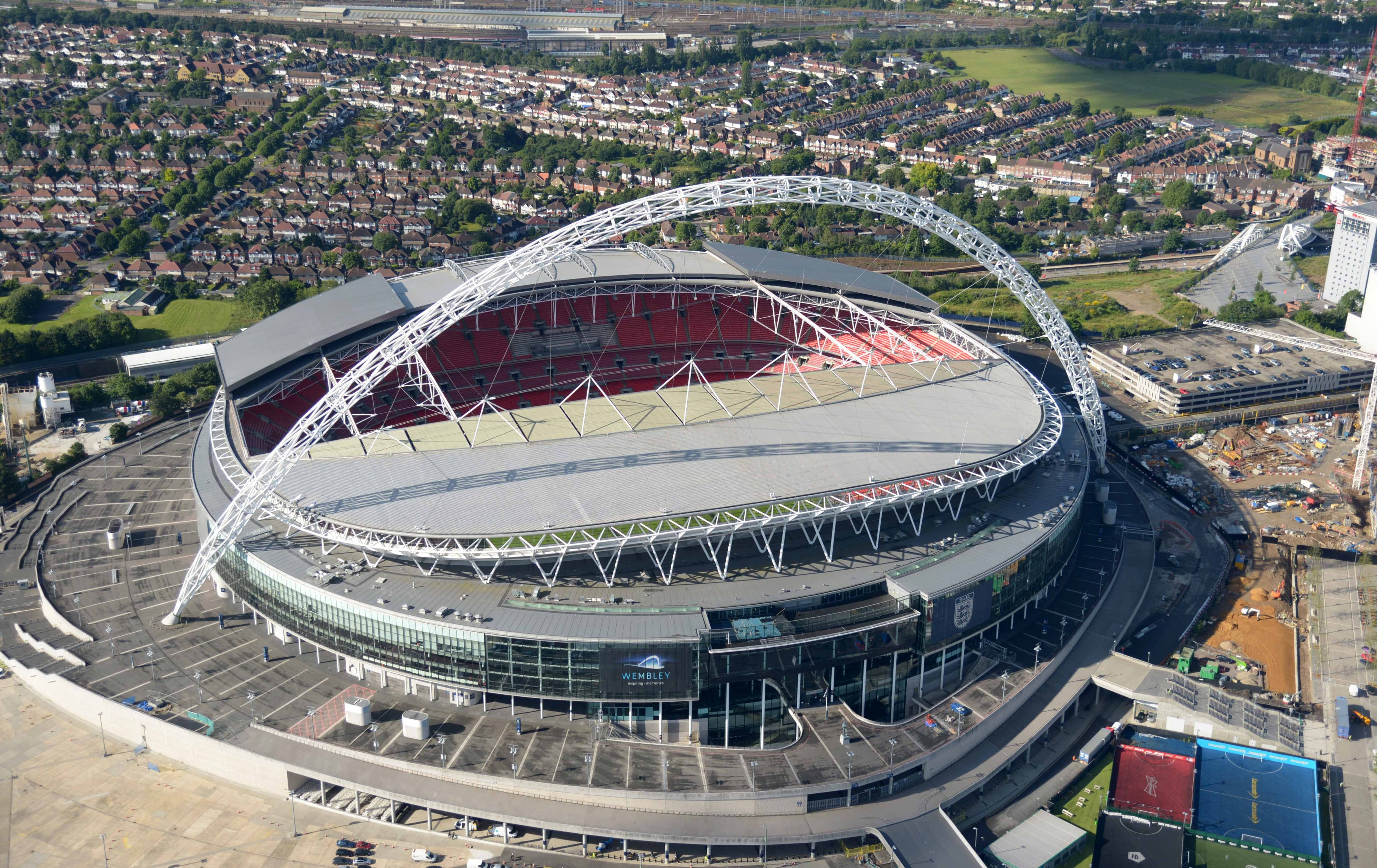 Jul 12, 2012; London, UNITED KINGDOM; Aerial view of Wembley Stadium. After today, just eight teams will be left in the race to get here for the men's soccer gold medal game. Mandatory Credit: Kirby Lee/Image of Sport-US PRESSWIRE