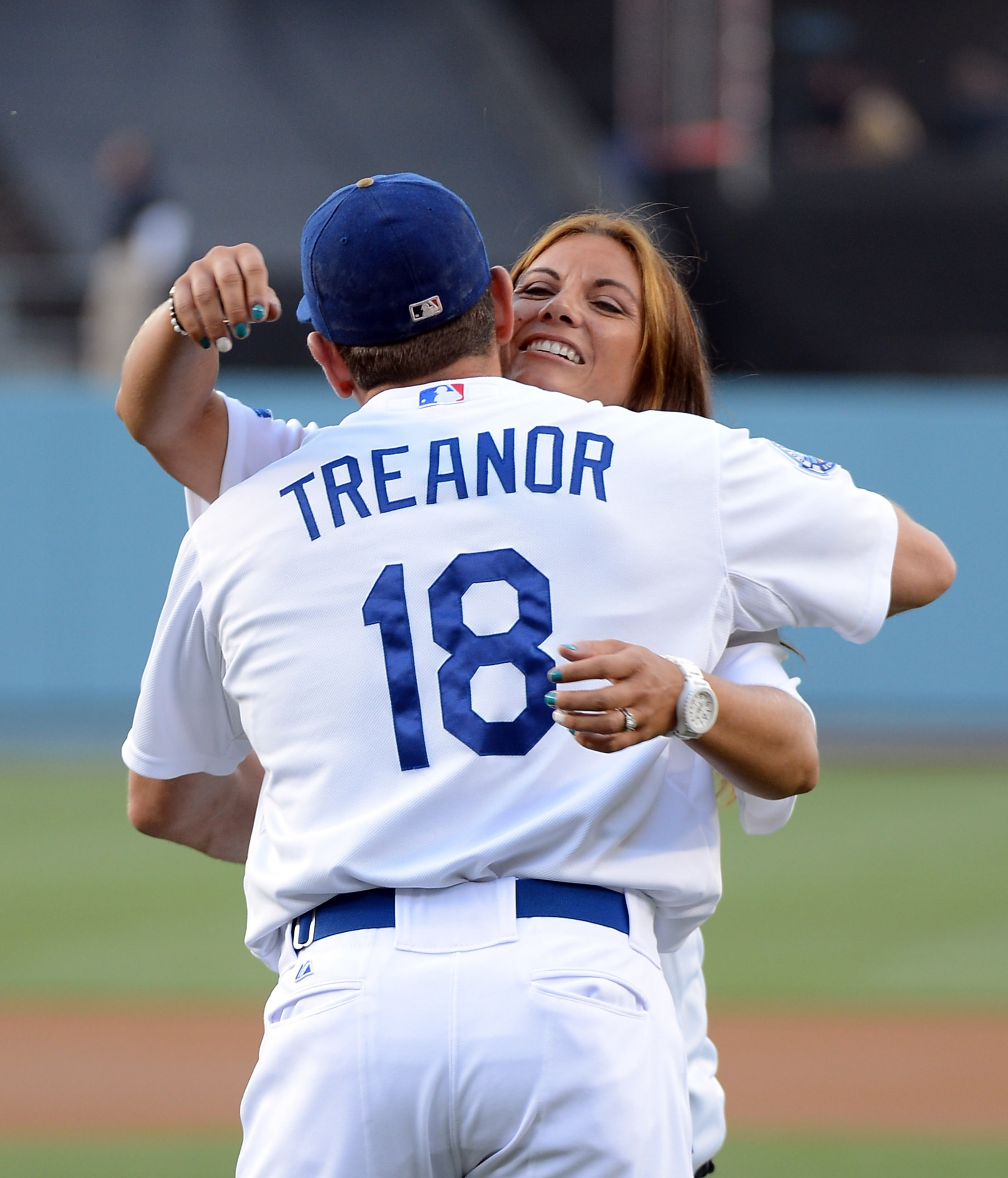 Matt Treanor is the only Dodger to catch a ceremonial first pitch from his wife this season at Dodger Stadium.