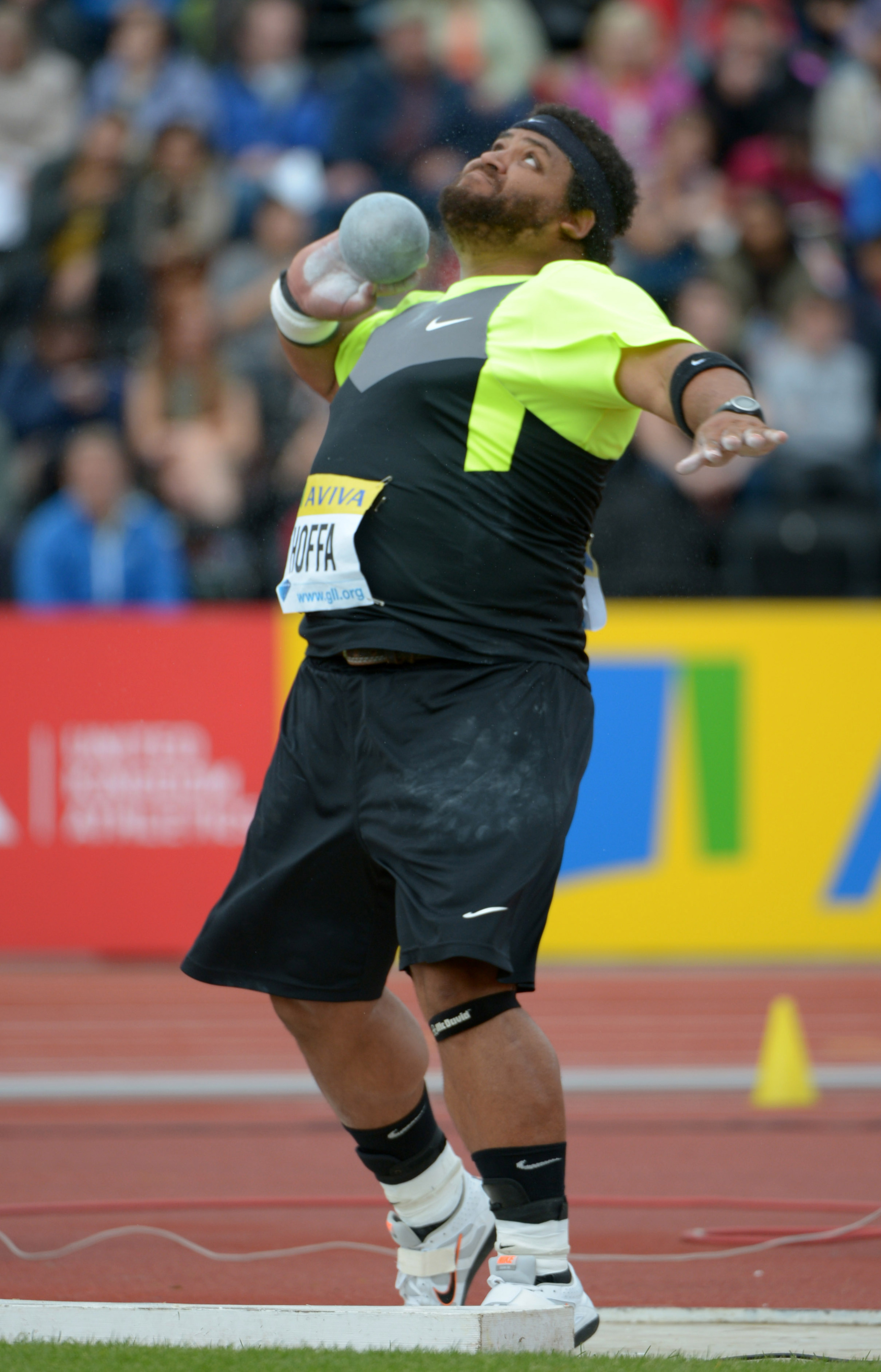 Georgia's Reese Hoffa (USA) won the conference's first track & field medal with a bronze in the shot put.