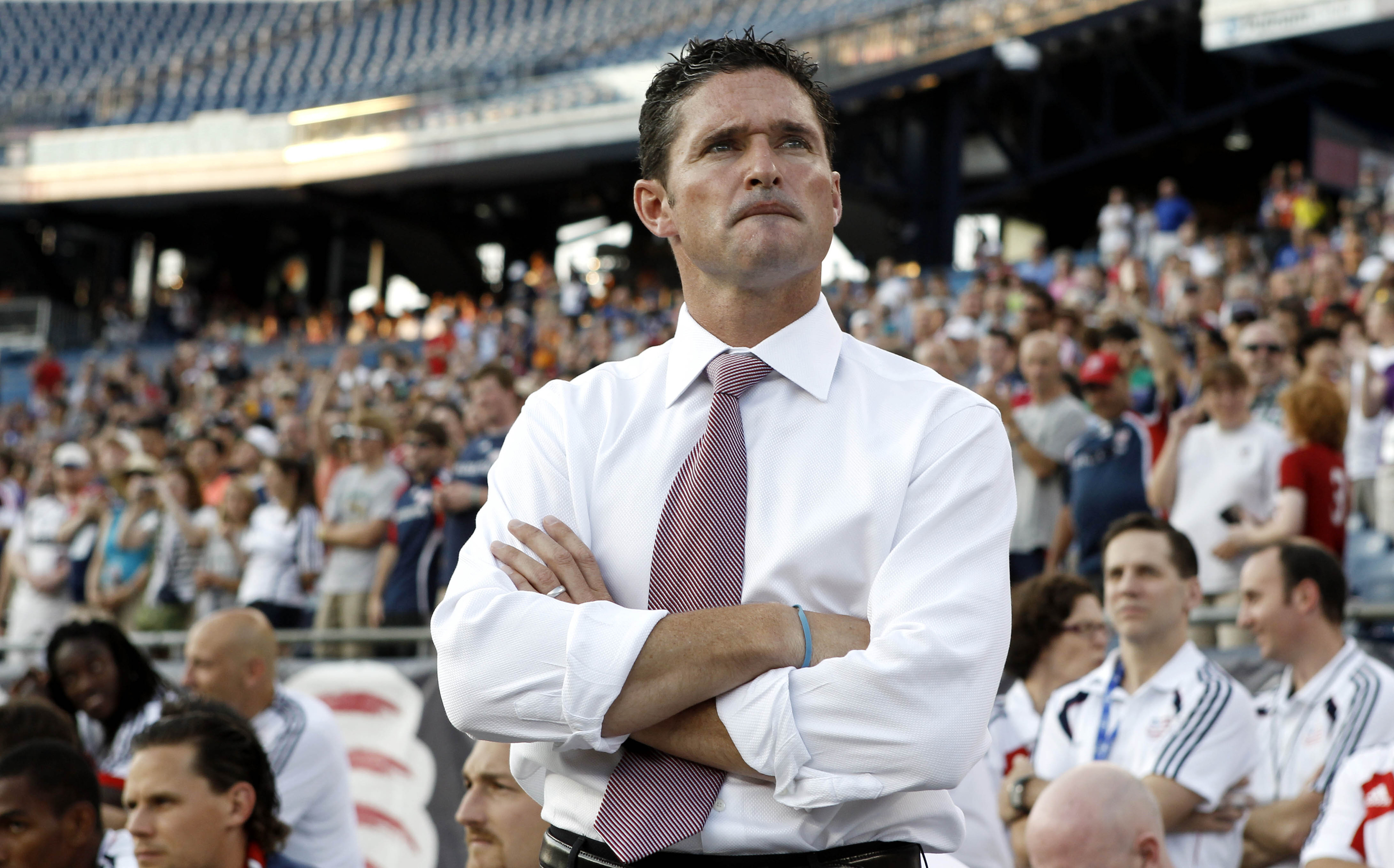 FOXBORO, MA - JULY 14:  Head coach Jay Heaps of New England Revolution looks on before their game against the Toronto FC at Gillette Stadium on July 14, 2012 in Foxboro, Massachusetts.  (Photo by Winslow Townson/Getty Images)