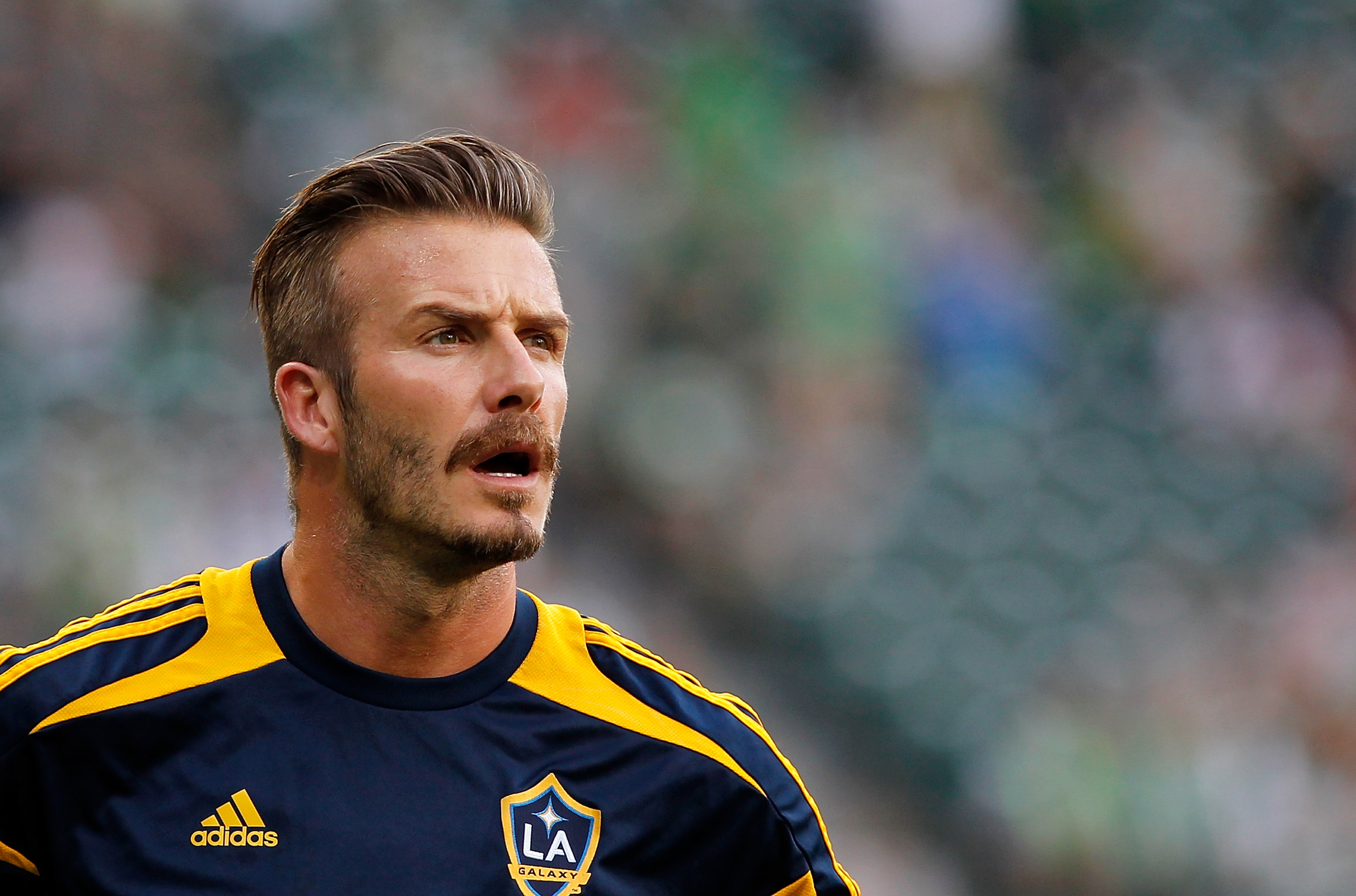 PORTLAND, OR - JULY 14:  David Beckham #23 of the Los Angeles Galaxy during the pregame warmup against  the Portland Timbers on July 14, 2012 at Jeld-Wen Field in Portland, Oregon.  (Photo by Jonathan Ferrey/Getty Images)