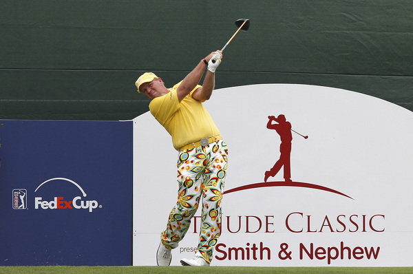 MEMPHIS, TN - JUNE 11: John Daly of the United States hits his tee shot on the 17th hole during the second round of the St. Jude Classic at TPC Southwind held on June 11, 2010 in Memphis, Tennessee.  (Photo by John Sommers II/Getty Images)