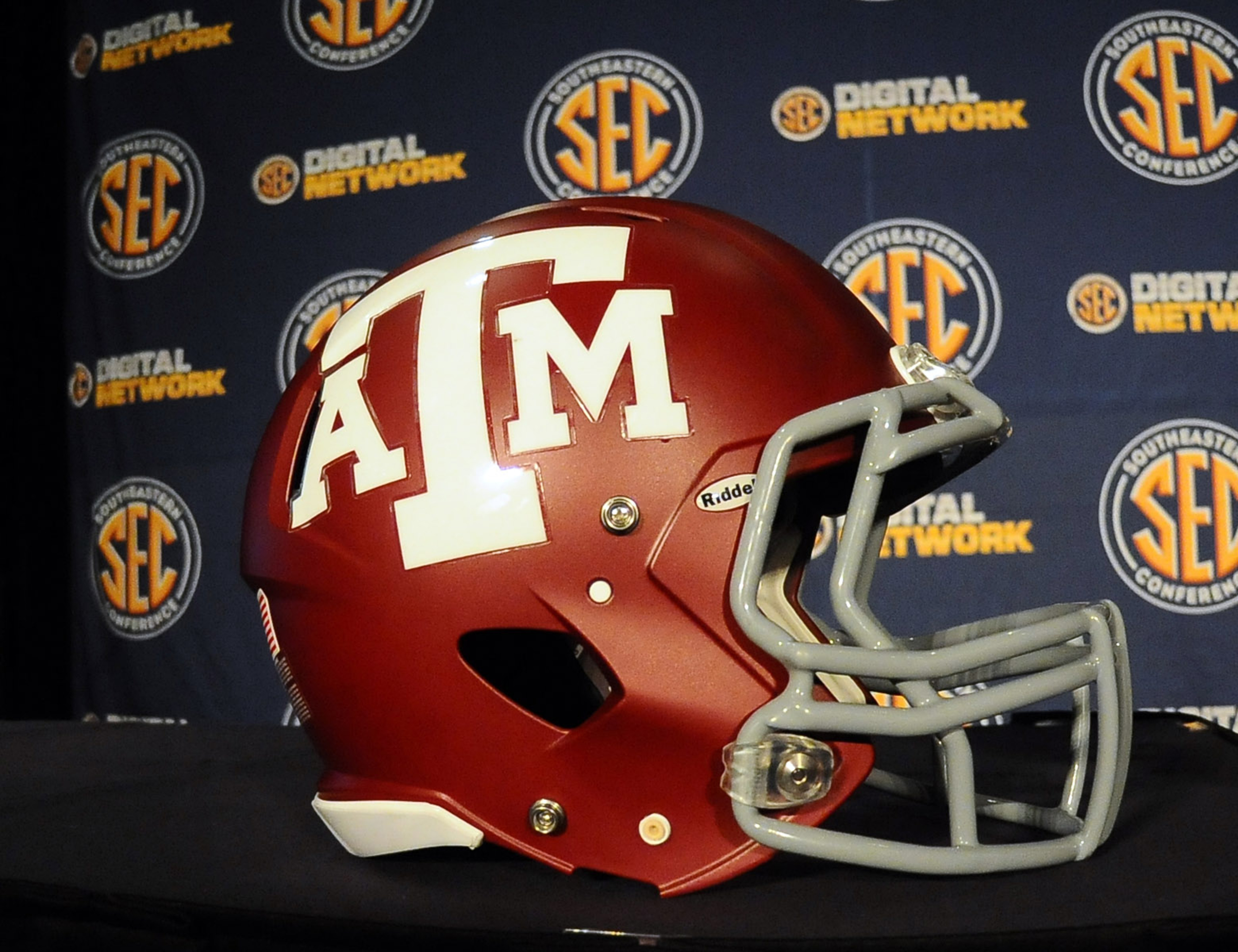 July 17, 2012; Hoover, AL, USA;  Texas A&M Aggies helmet sits in front of an SEC backdrop during the 2012 SEC media days event at the Wynfrey Hotel.   Mandatory Credit: Kelly Lambert-US PRESSWIRE