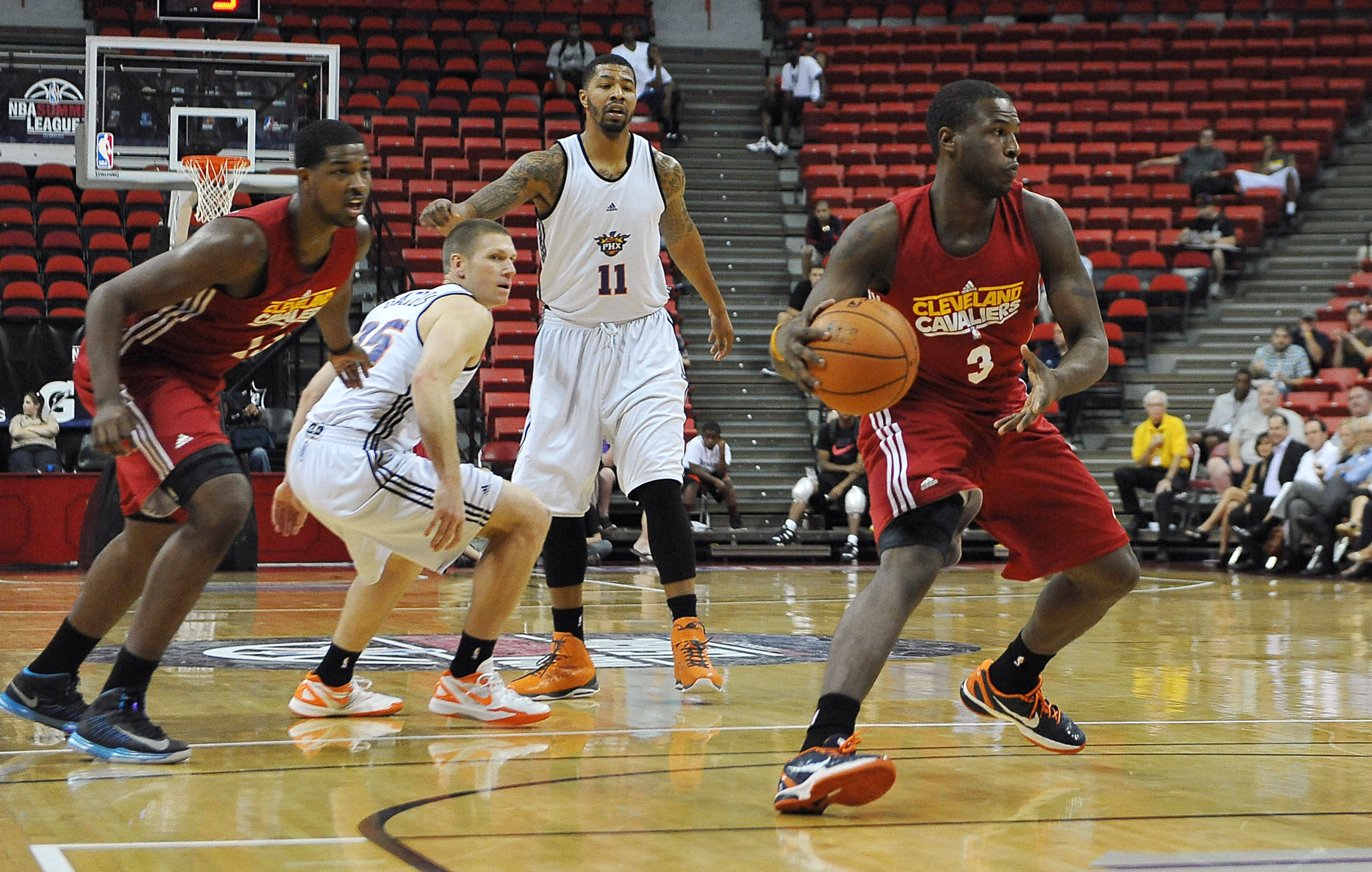 July 17, 2012; Las Vegas, NV, USA;   Cleveland Cavaliers guard Dion Waiters (3) controls the ball during the game against the Phoenix Suns at the Thomas and Mack Center. Mandatory Credit: Jayne Kamin-Oncea-US PRESSWIRE
