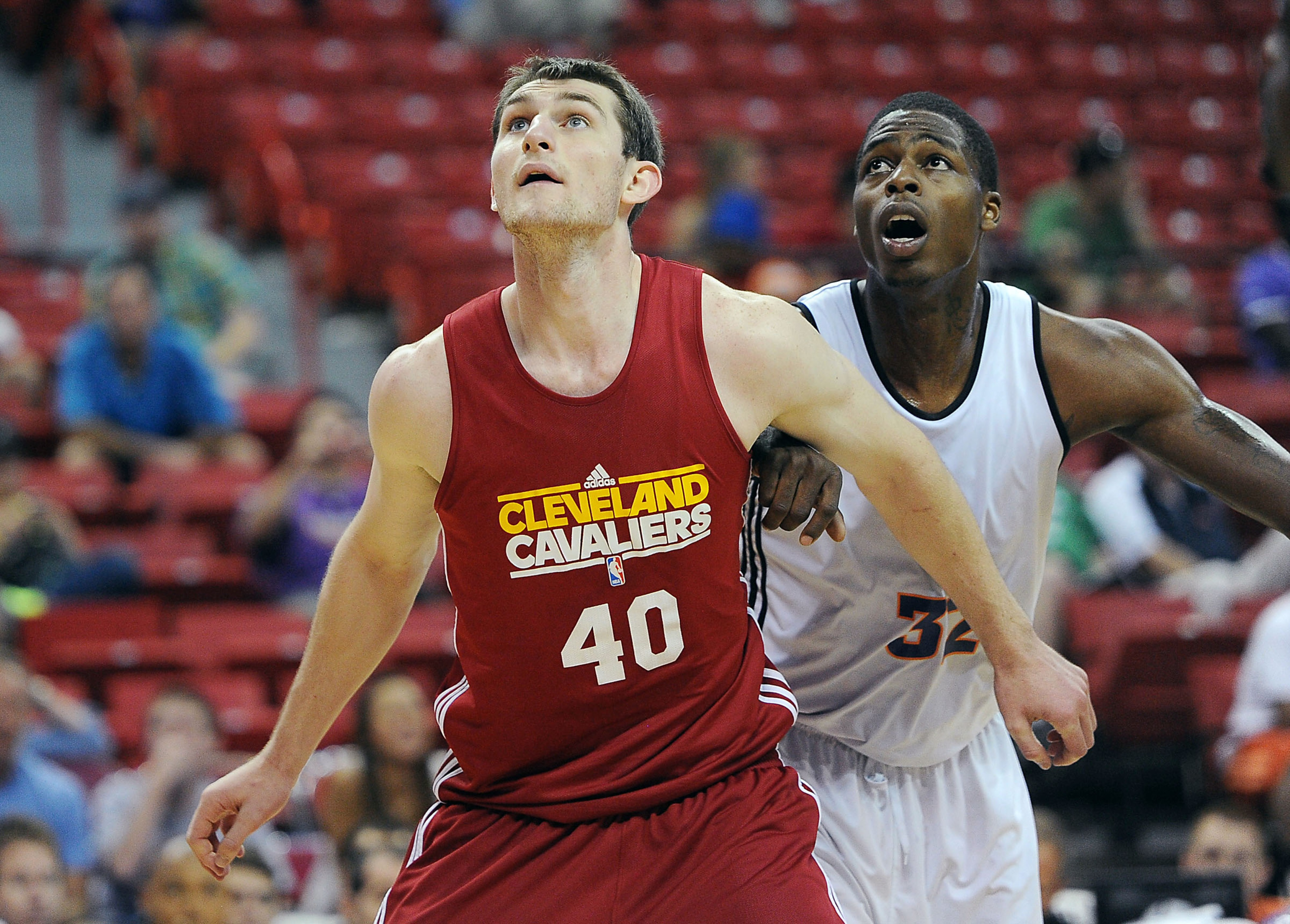 July 17, 2012; Las Vegas, NV, USA;   Cleveland Cavaliers forward Tyler Zeller (40) and Phoenix Suns forward DeShawn Sims (32) battle for position during the game at the Thomas and Mack Center. Mandatory Credit: Jayne Kamin-Oncea-US PRESSWIRE