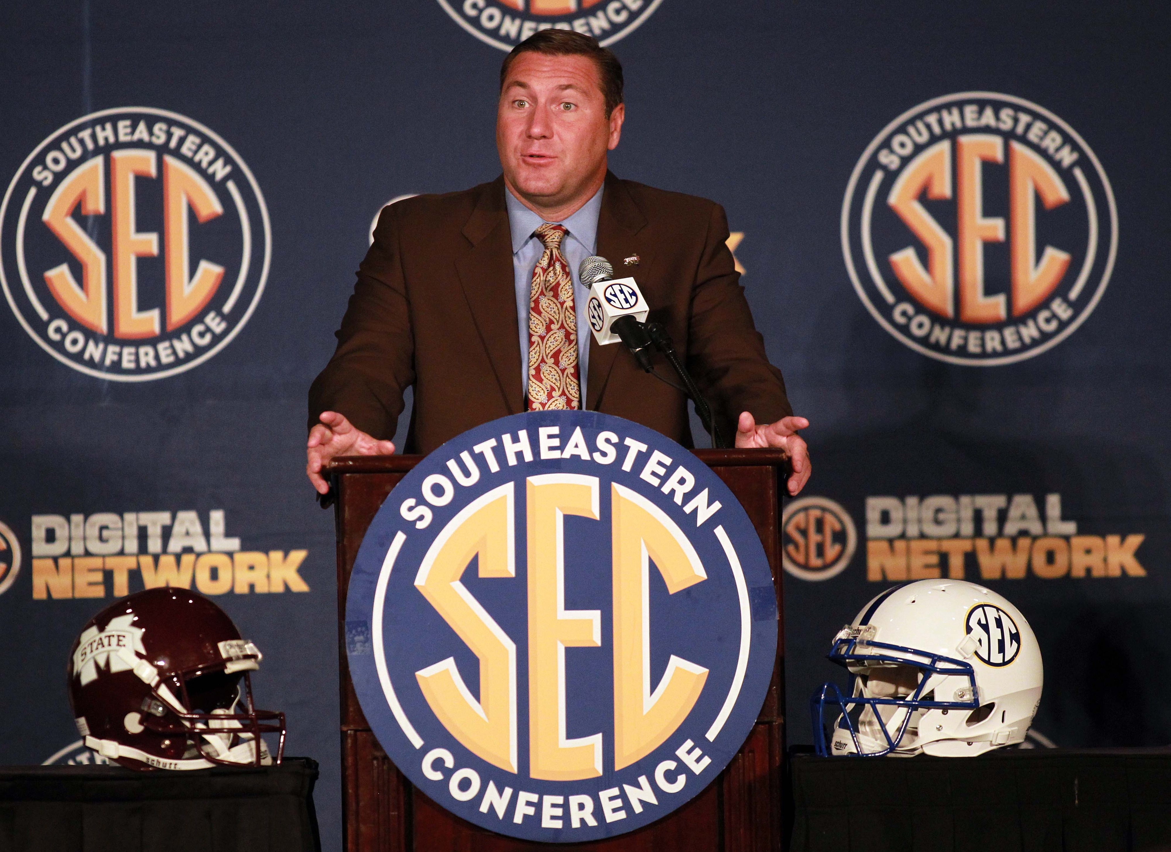 July 18, 2012; Hoover, AL, USA;  Mississippi State Bulldogs head coach Dan Mullen speaks during a press conference at the 2012 SEC media days event at the Wynfrey Hotel.   Mandatory Credit: Marvin Gentry-US PRESSWIRE