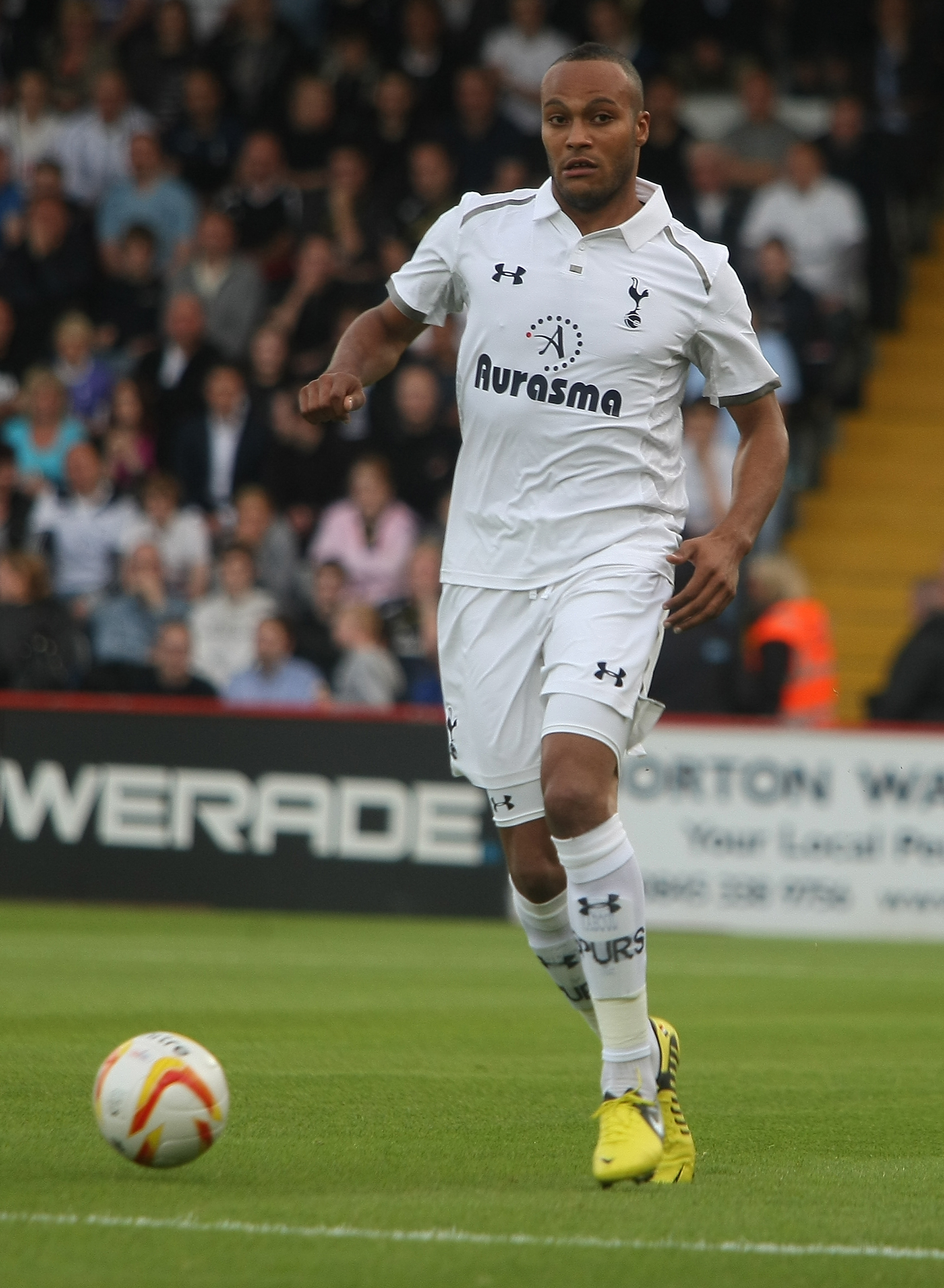 STEVENAGE, ENGLAND - JULY 18:  Younes Kaboul of Tottenham Hotspur in action during the Pre Season Friendly match between Stevenage and Tottenham Hotspur at The Lamex Stadium on July 18, 2012 in Stevenage, England.  (Photo by Pete Norton/Getty Images)