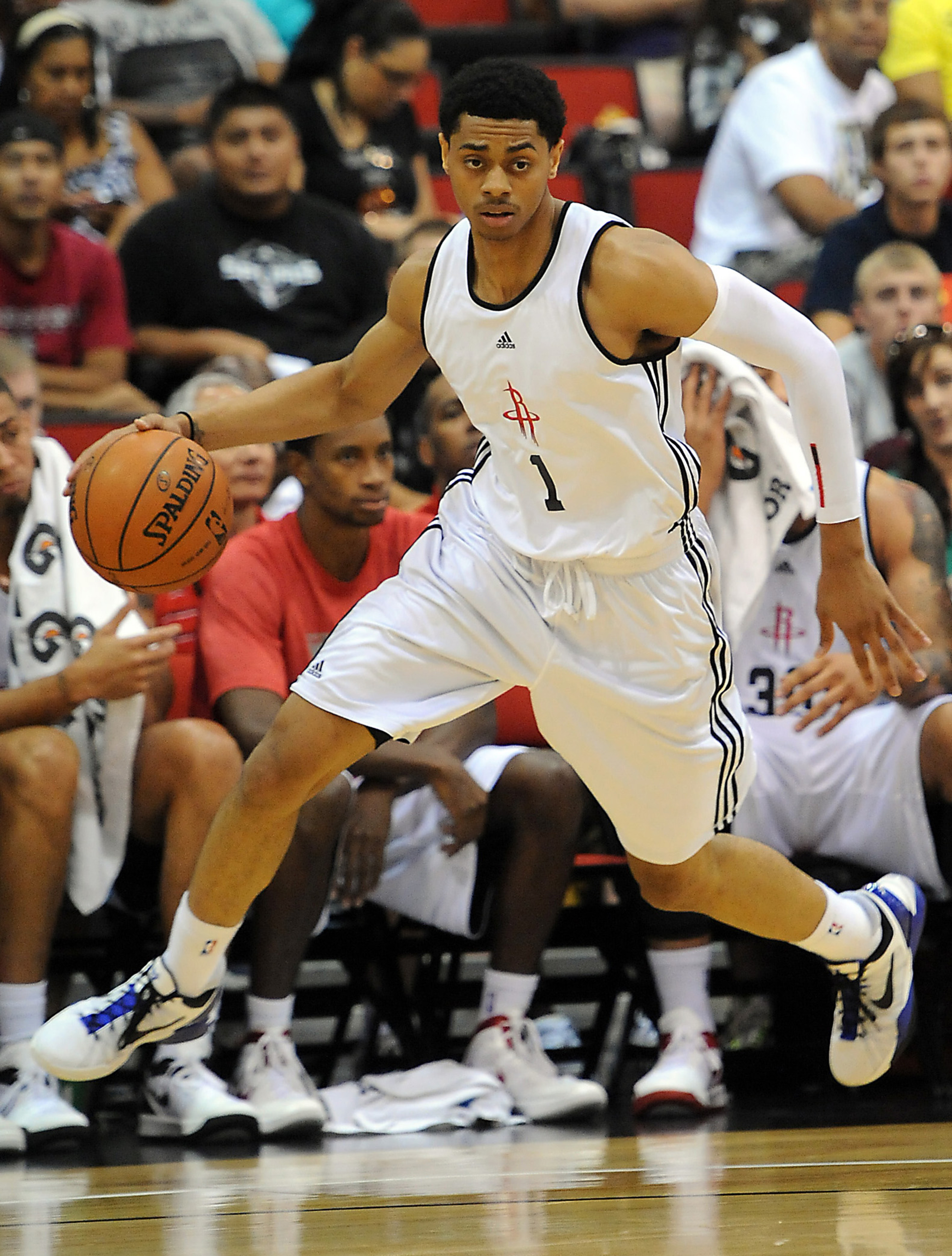 July 18, 2012; Las Vegas, NV, USA;    Houston Rockets guard Jeremy Lamb (1) during the first half of the game against the Chicago Bulls at Cox Pavilion. Mandatory Credit: Jayne Kamin-Oncea-US PRESSWIRE