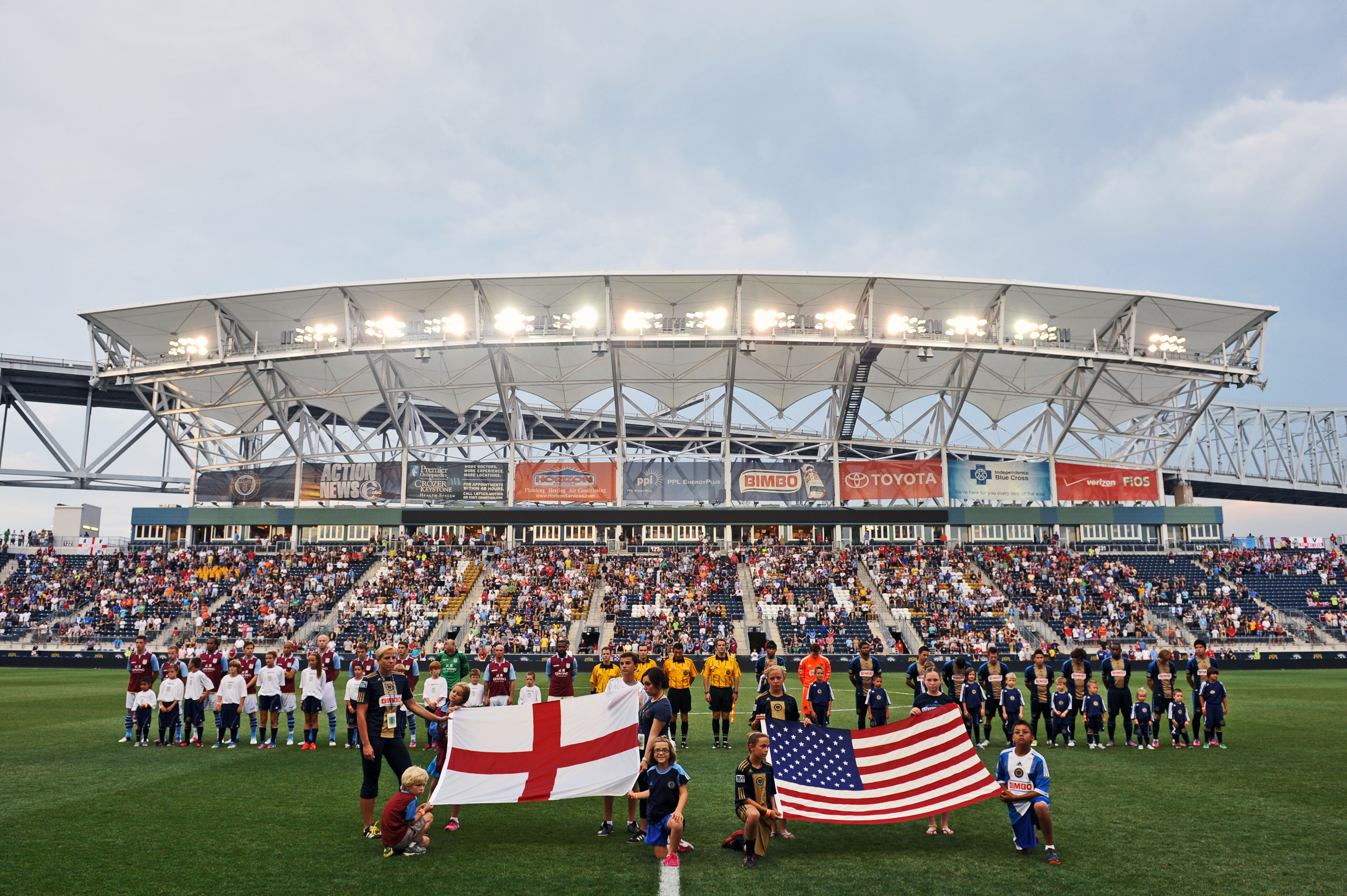 CHESTER, PA - JULY 18: Aston Villa and the Philadelphia Union observe their National Anthems at PPL Park on July 18, 2012 in Chester, Pennsylvania. Aston Villa won 1-0. (Photo by Drew Hallowell/Getty Images)