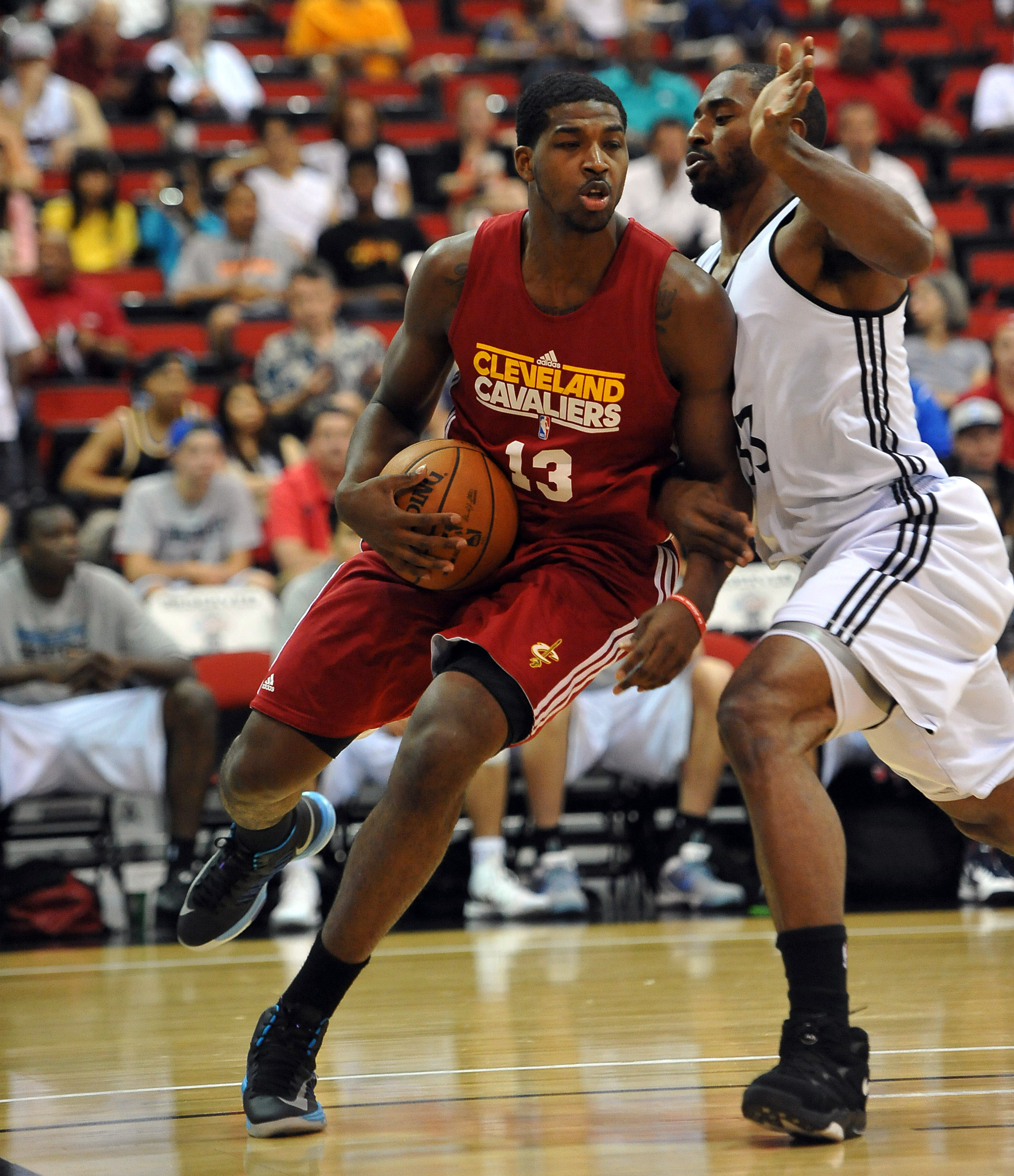 July 19, 2012; Las Vegas, NV, USA; Minnesota Timberwolves forward Mike Harris (33) guards Cleveland Cavaliers forward Tristan Thompson (14) during the first half of the game at the Cox Pavilion. Mandatory Credit: Jayne Kamin-Oncea-US PRESSWIRE