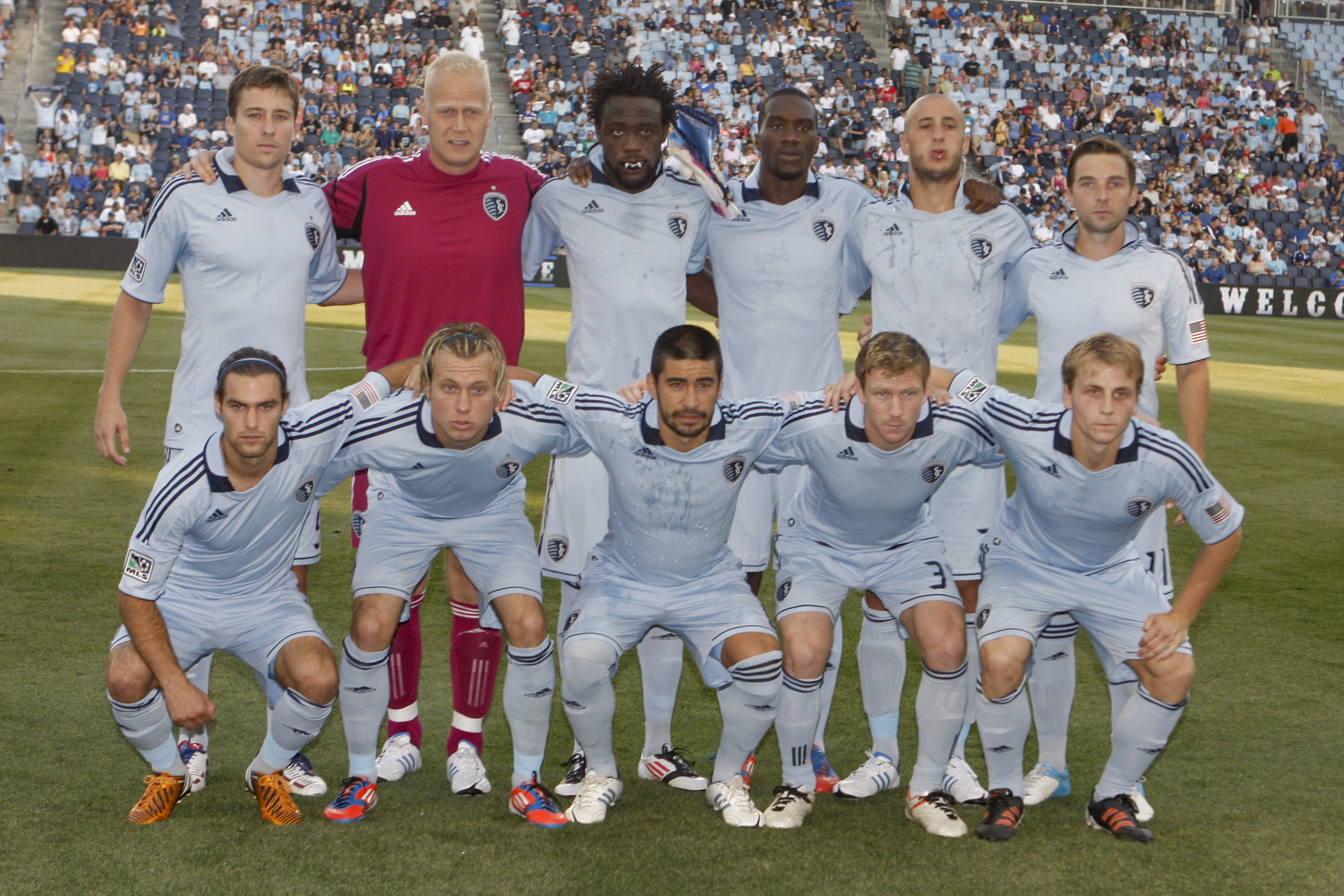 KANSAS CITY, KS - JULY 21: Sporting KC poses for a group photo before the game against the New England Revolution at Livestrong Sporting Park on July 21, 2012 in Kansas City, Kansas.  (Photo by Kyle Rivas/Getty Images)