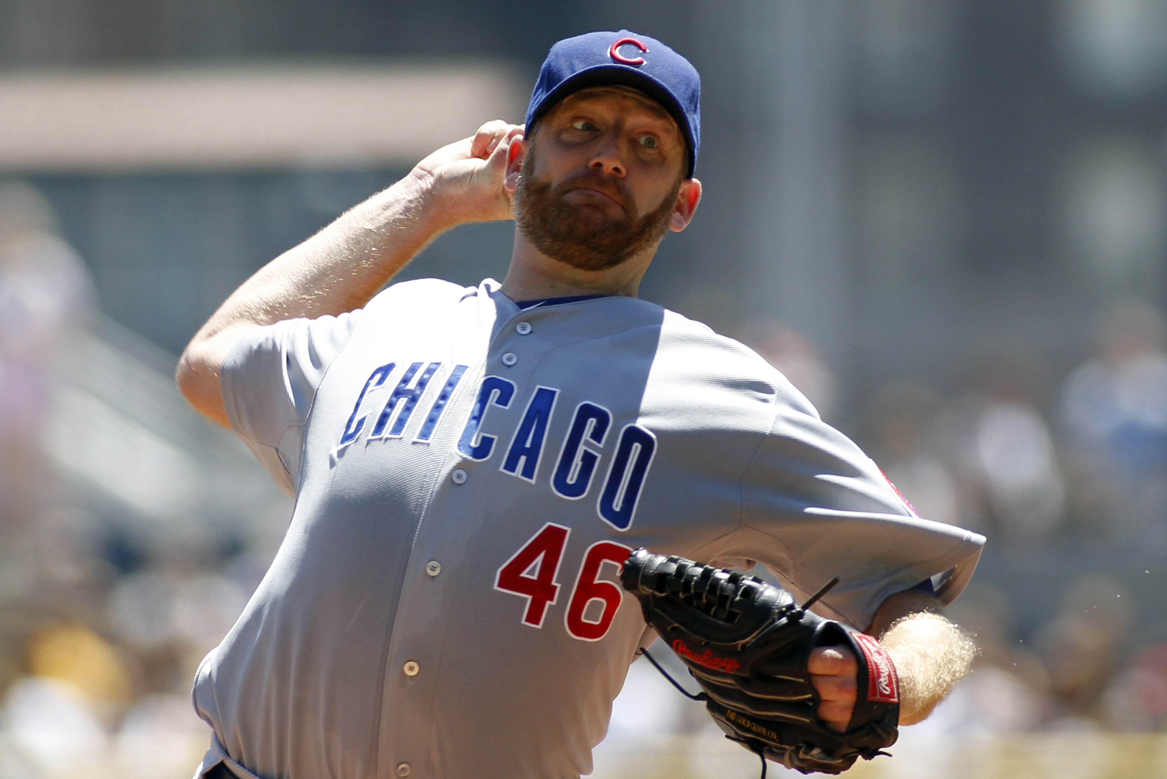 PITTSBURGH, PA - JULY 25: Ryan Dempster #46 of the Chicago Cubs pitches against the Pittsburgh Pirates on July 25, 2012 at PNC Park in Pittsburgh, Pennsylvania.(Photo by Justin K. Aller/Getty Images)