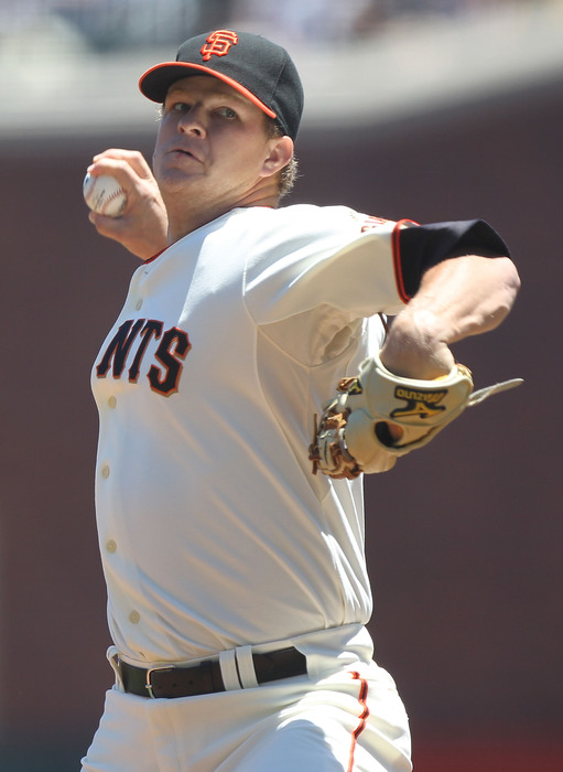 SAN FRANCISCO - JUNE 13:  Matt Cain #18 of the San Francisco Giants pitches against the Oakland Athletics during an MLB game at AT&T Park on June 13, 2010 in San Francisco, California.  (Photo by Jed Jacobsohn/Getty Images)