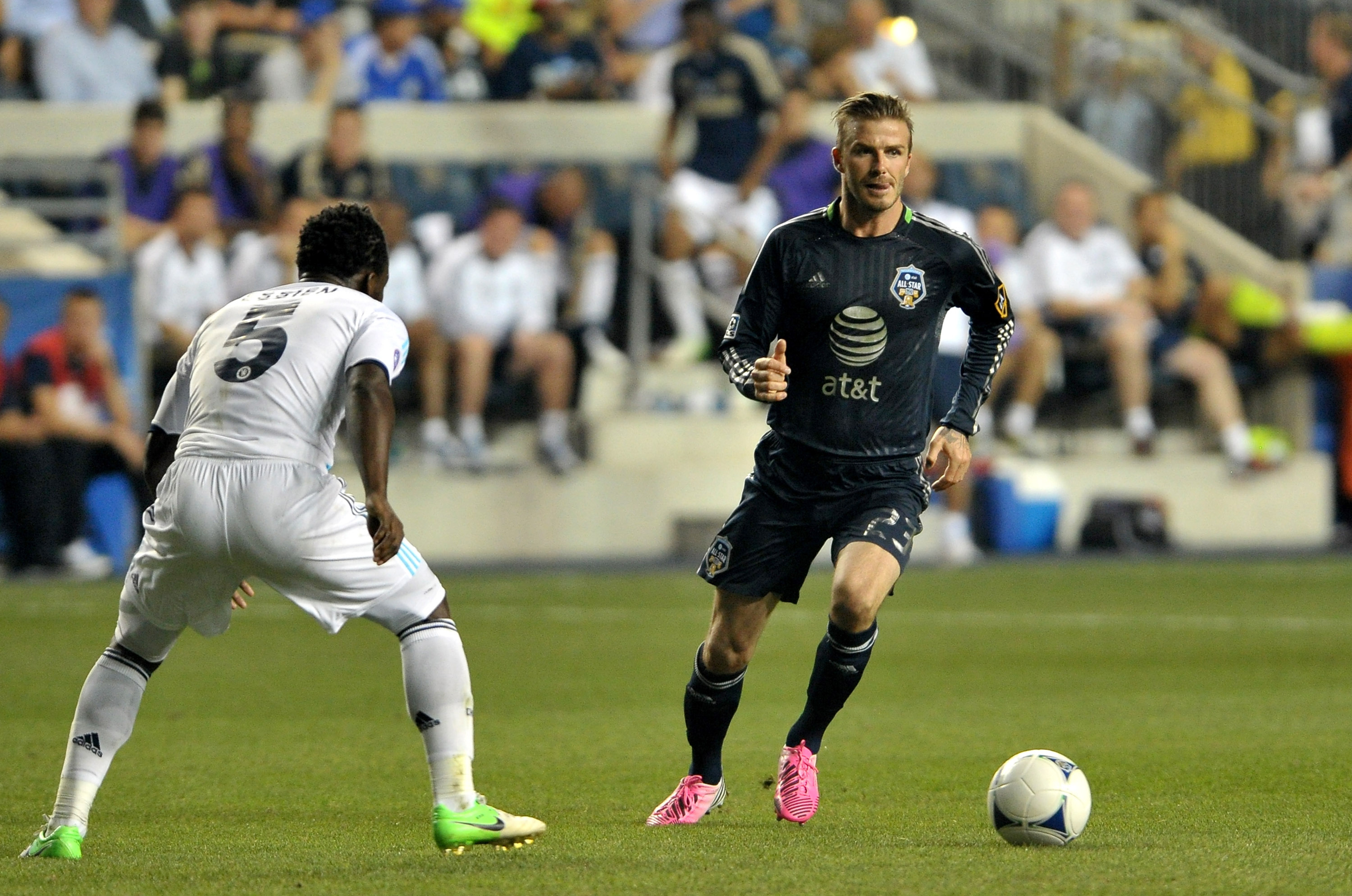 CHESTER, PA - JULY 25: David Beckham #23 of MLS All-Stars handles the ball against Michael Essien #5 of Chelsea during the 2012 AT&T MLS All-Star Game at PPL Park on July 25, 2012 in Chester, Pennsylvania.  (Photo by Drew Hallowell/Getty Images)