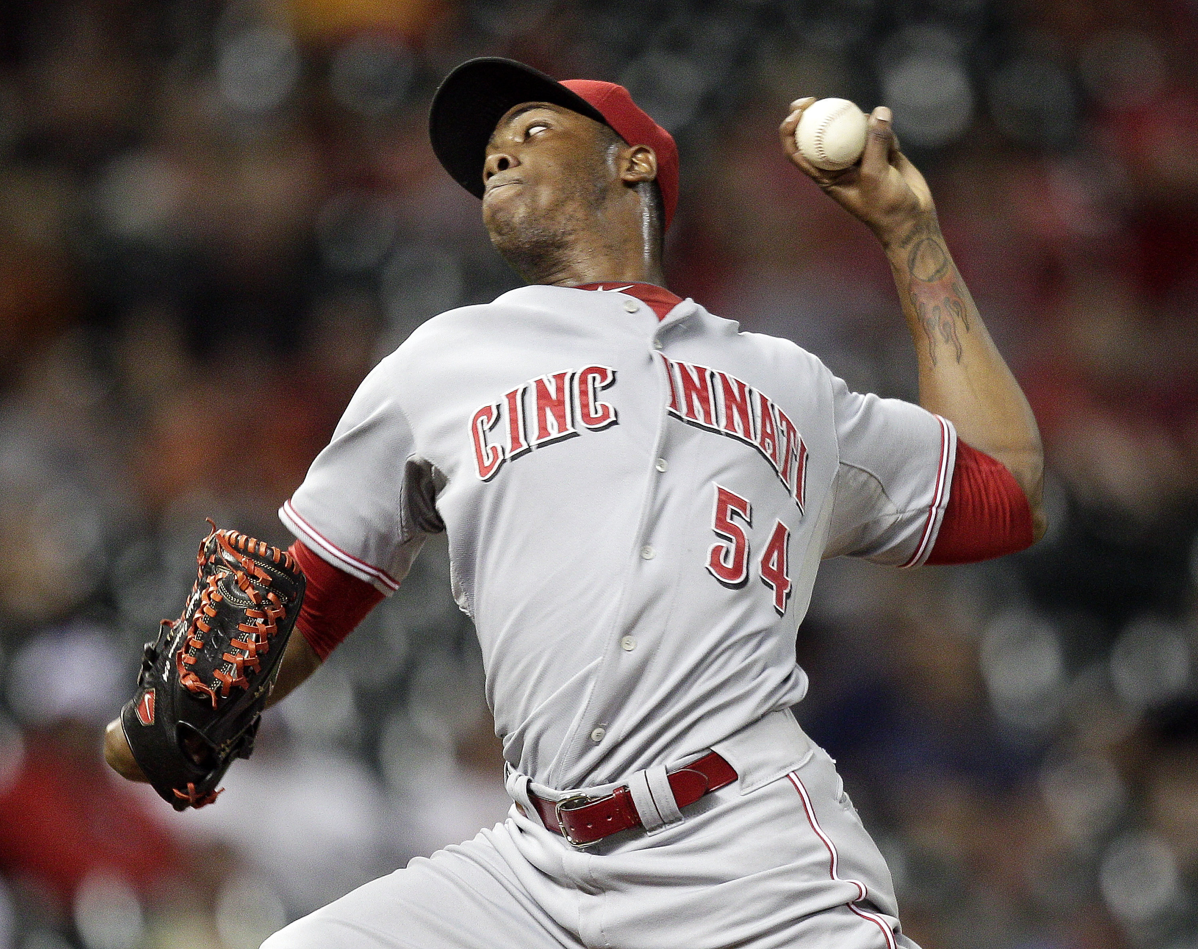 HOUSTON TX - JULY 25:  Aroldis Chapman #54 of the Cincinnati Reds closes out the Houston Astros in the ninth inning at Minute Maid Park on July 25, 2012 in Houston, Texas. Cincinnati Reds win 5-3.  (Photo by Bob Levey/Getty Images)