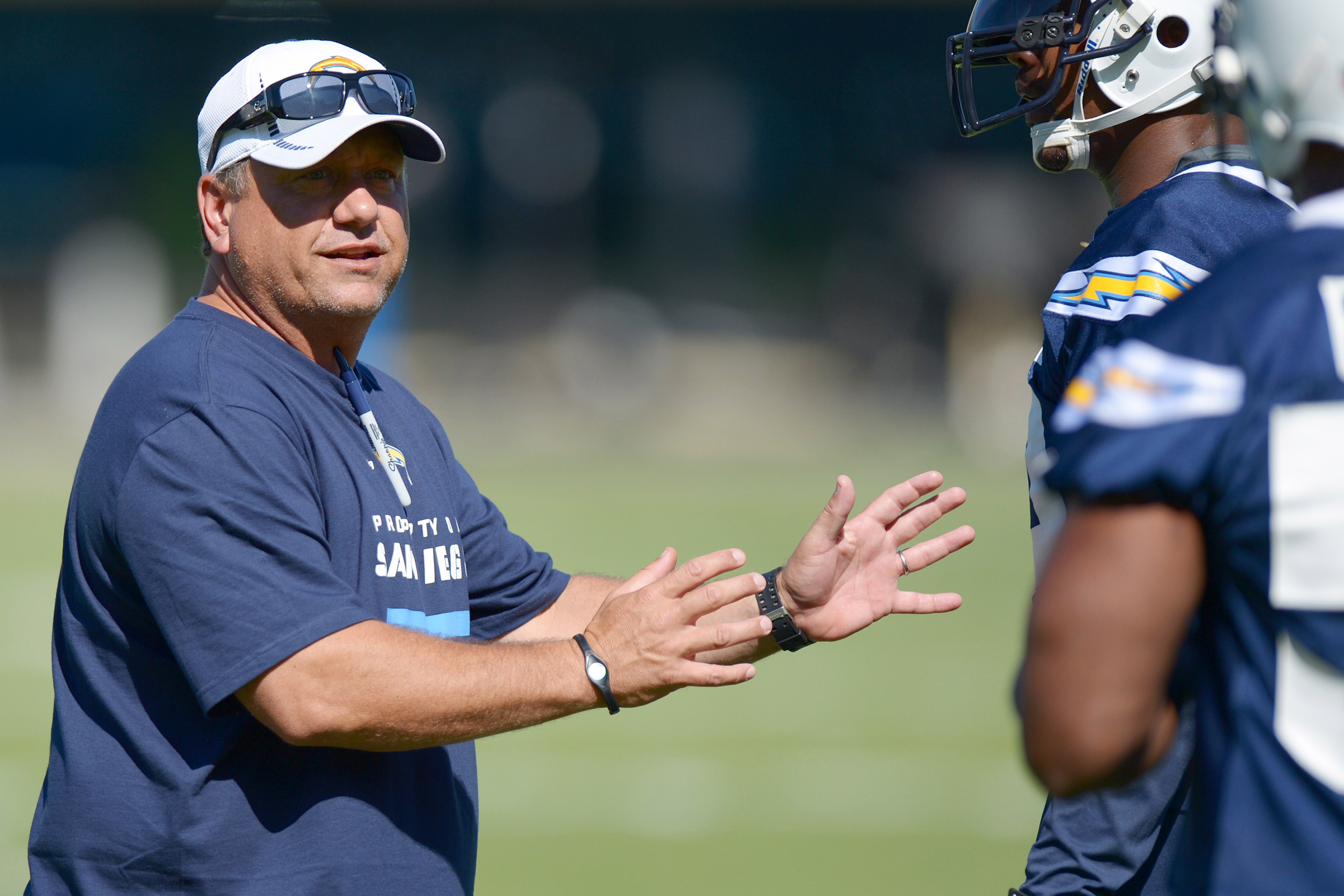 July 26, 2012; San Diego, CA, USA; San Diego Chargers defensive coordinator John Pagano  (left)n gives instruction during training camp at Charger Park. Mandatory Credit: Jake Roth-US PRESSWIRE