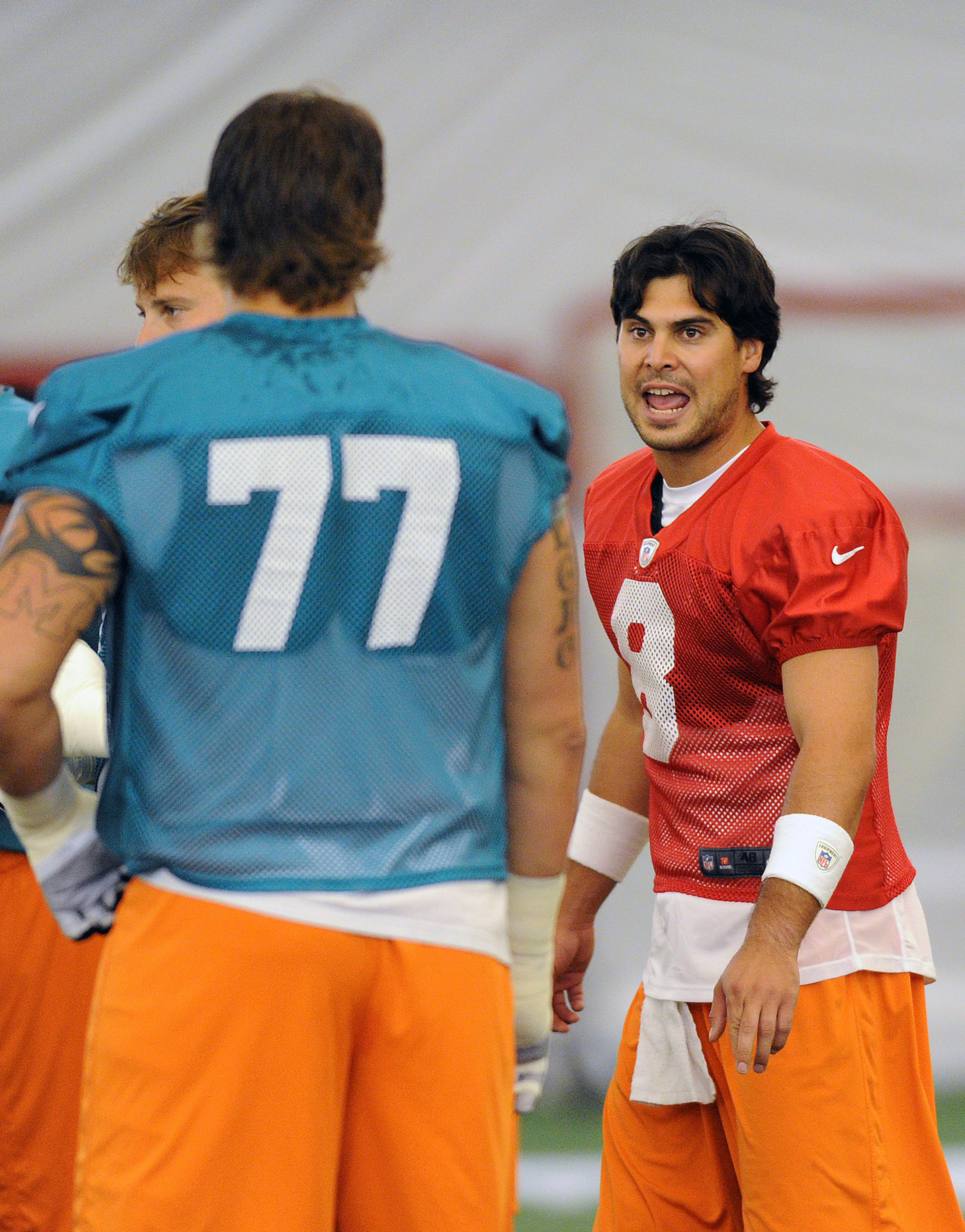 July 27 2012; Davie, FL, USA; Miami Dolphins quarterback Matt Moore (8) during practice at the Dolphins training facility. Mandatory Credit: Steve Mitchell-US PRESSWIRE