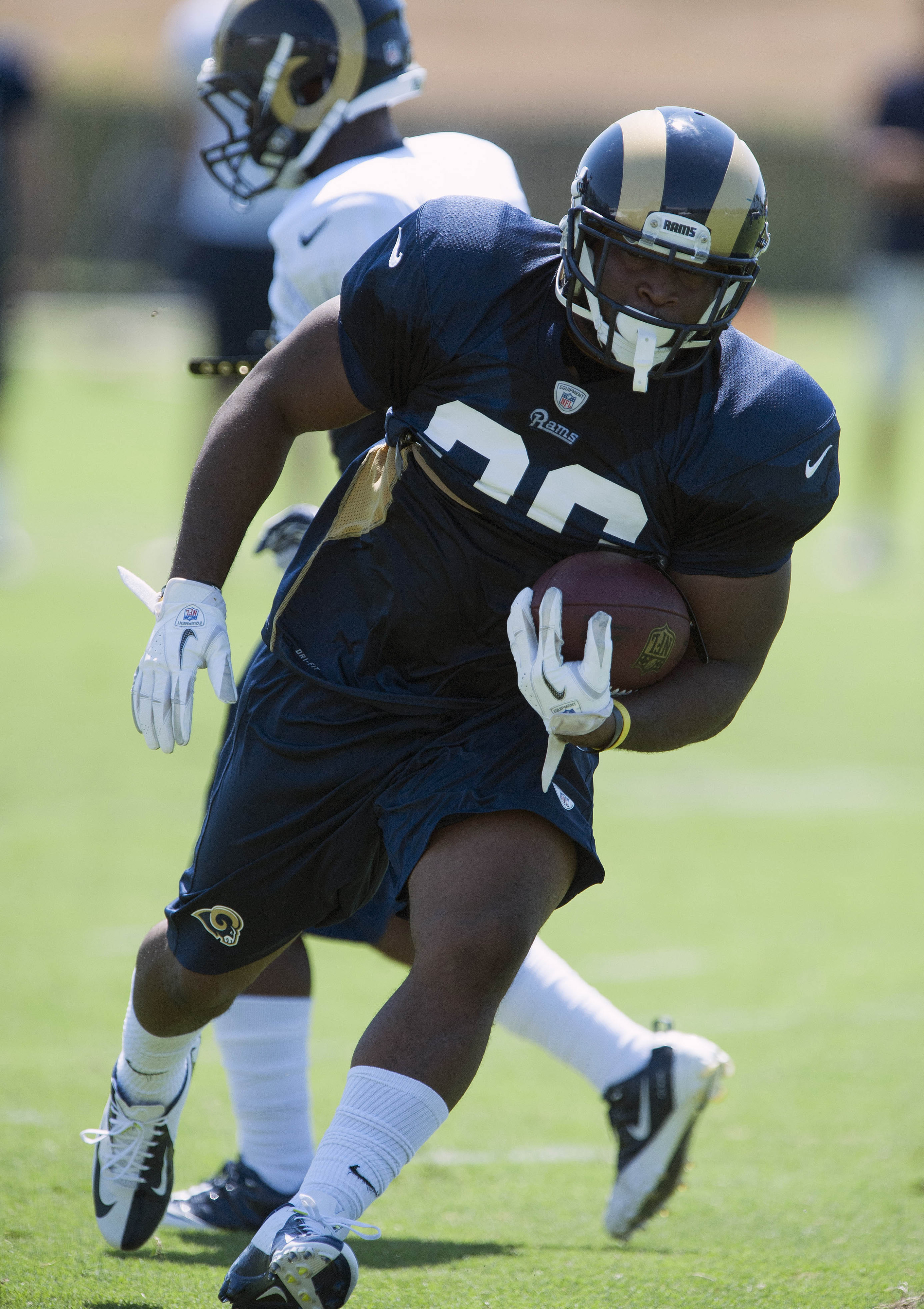 July 27, 2012; St. Louis, MO, USA; St. Louis Rams running back Calvin Middleton (36) carries the ball during training camp at ContinuityX Training Center. Mandatory Credit: Jeff Curry-US PRESSWIRE