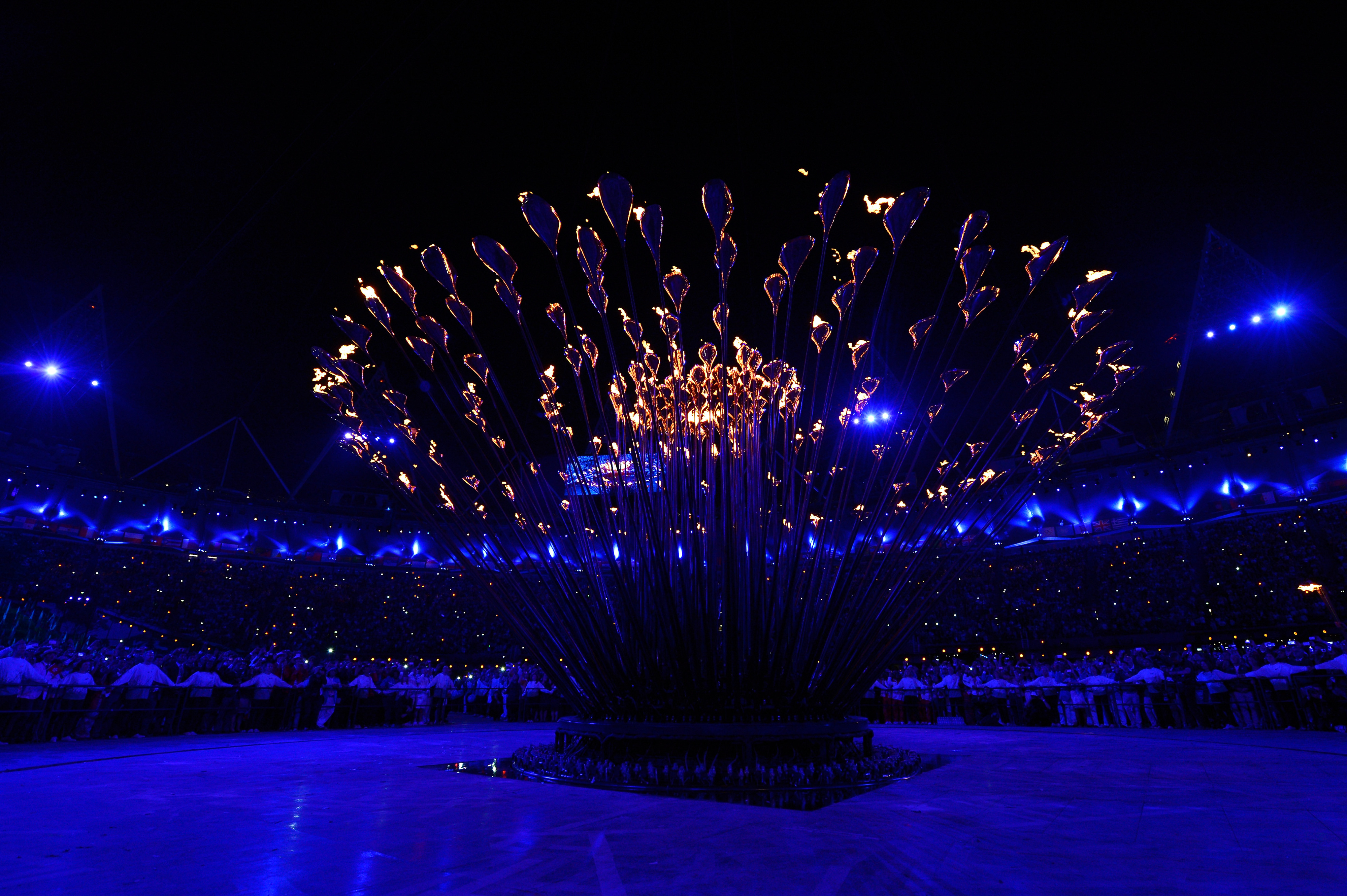 LONDON, ENGLAND - JULY 27:  The Olympic Cauldron is lit during the Opening Ceremony of the London 2012 Olympic Games at the Olympic Stadium on July 27, 2012 in London, England.  (Photo by Pool/Getty Images)
