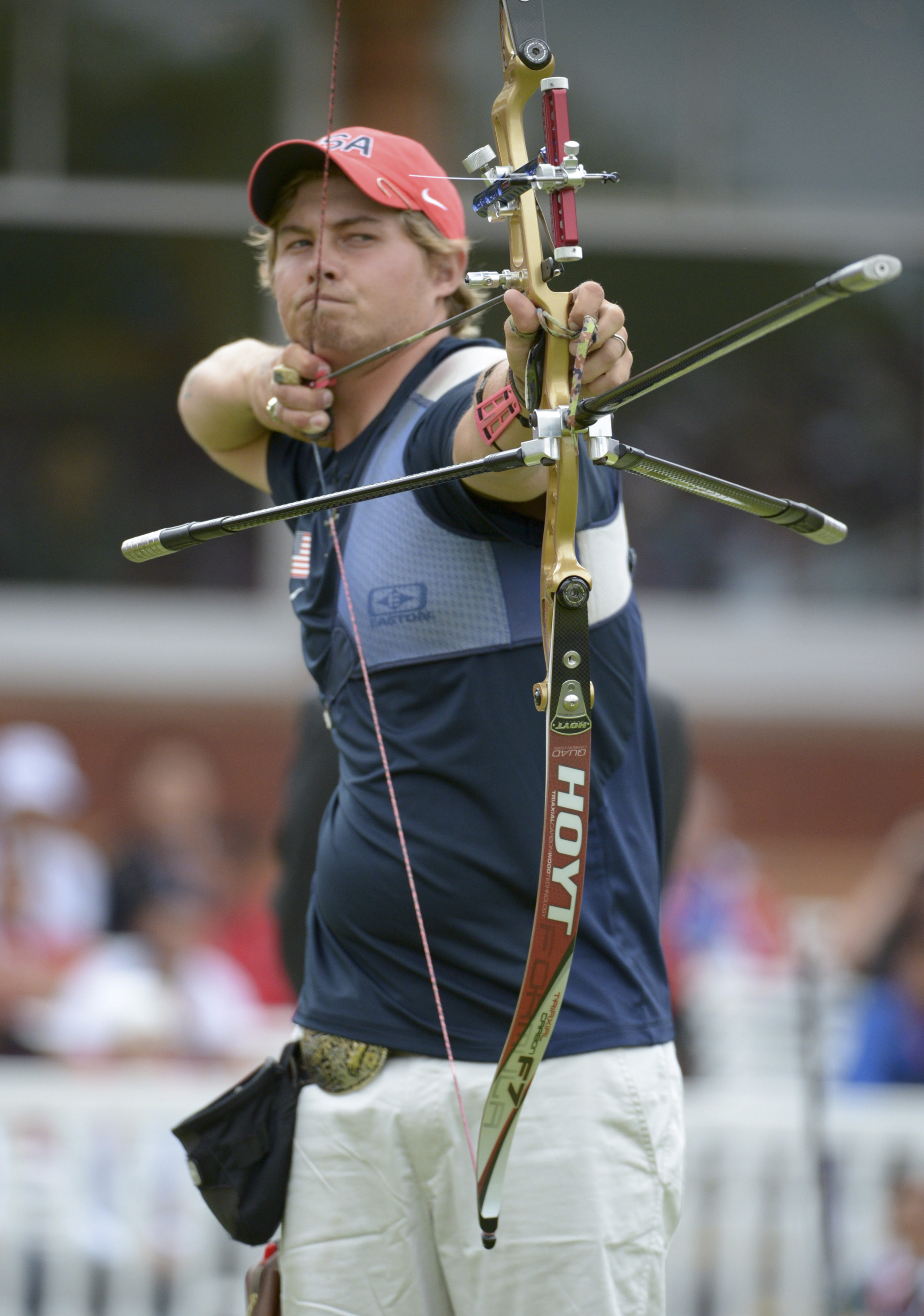 Jul 28, 2012; London, United Kingdom; Brady Ellison of the United States during the mens team archery finals against Italy at Lords Cricket Ground. Mandatory Credit: Kirby Lee-USA TODAY Sports
