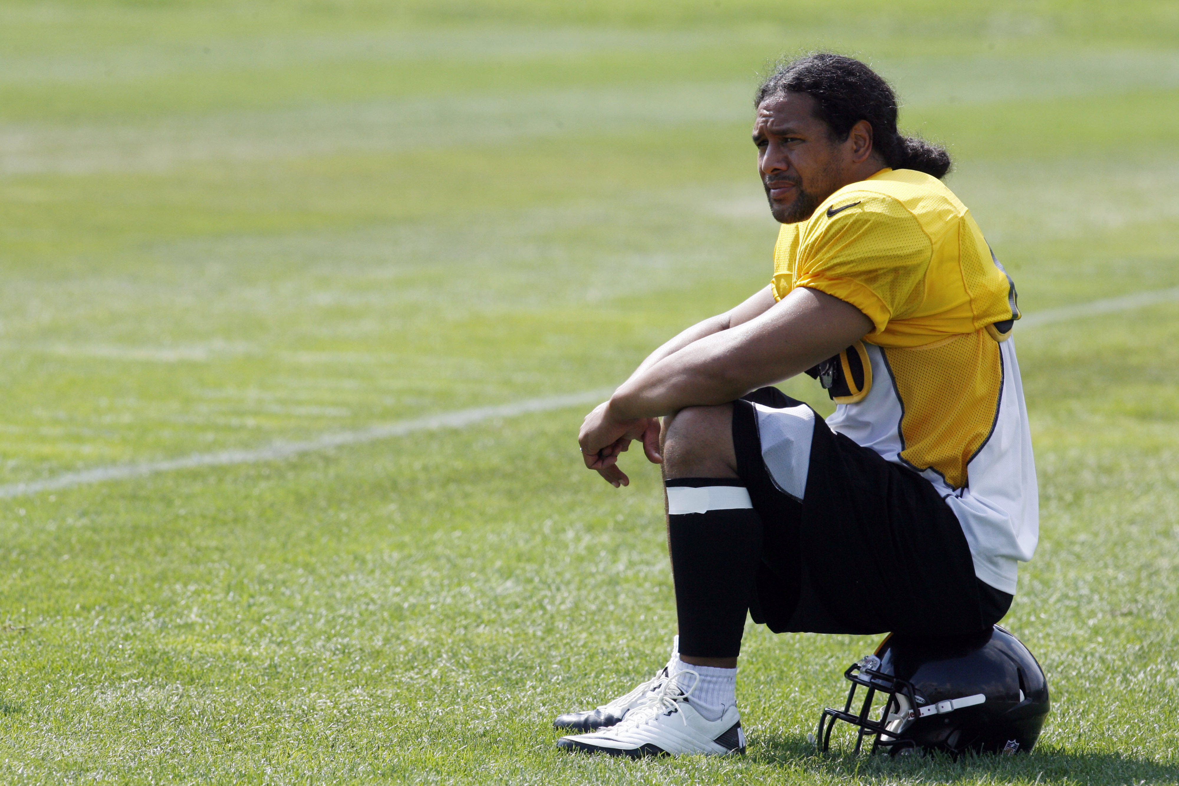 July 28, 2012; Pittsburgh, PA, USA; Pittsburgh Steelers safety Troy Polamalu (43) looks on during training camp at Saint Vincent College. Mandatory Credit: Charles LeClaire-US PRESSWIRE