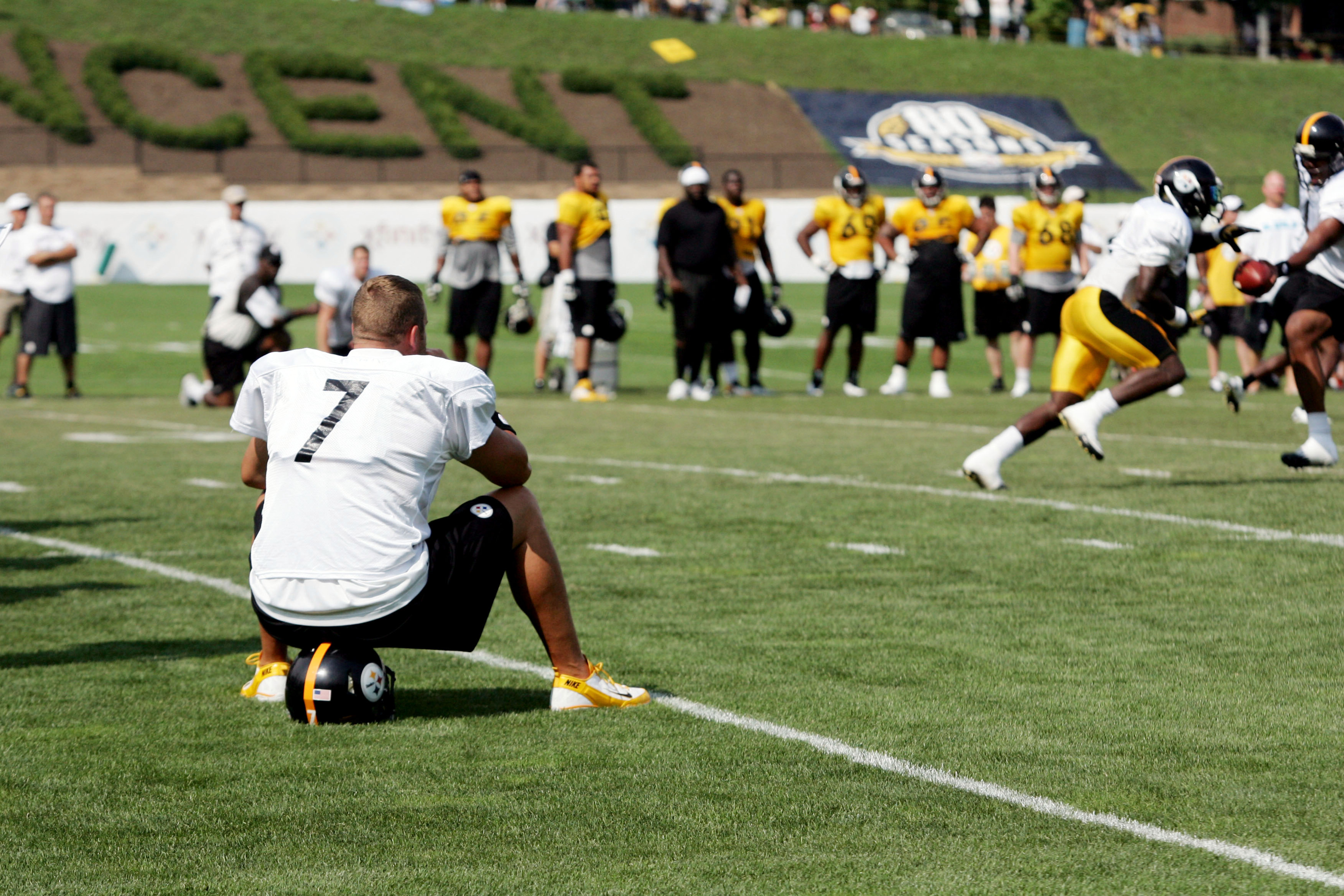 July 28, 2012; Pittsburgh, PA, USA; Pittsburgh Steelers quarterback Ben Roethlisberger (7) observes drills during training camp at Saint Vincent College. Mandatory Credit: Charles LeClaire-US PRESSWIRE