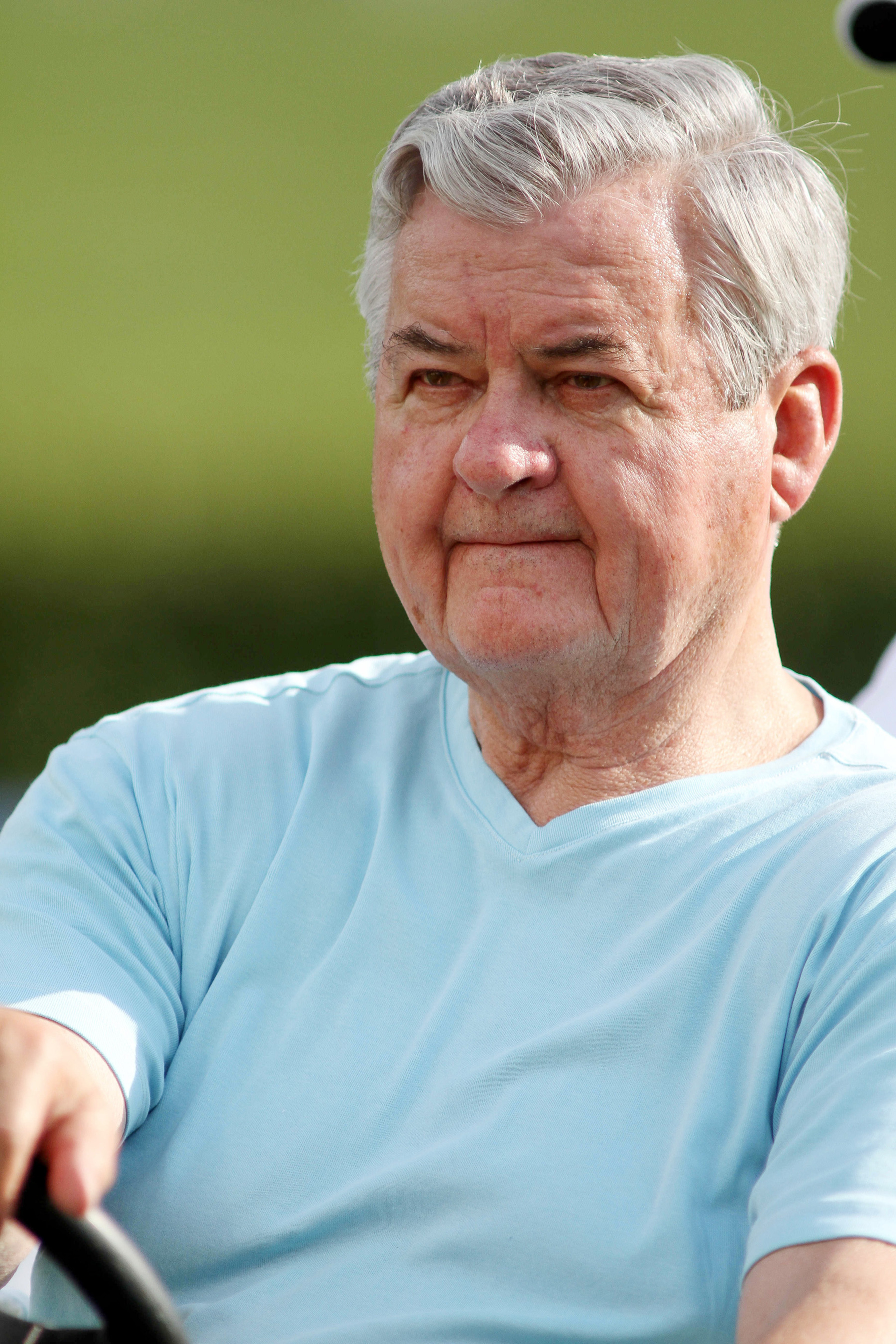 Jul 28, 2012; Spartanburg, SC USA. Carolina Panthers owner Jerry Richardson watches practice from a golf cart during the training camp held at Wofford College. Mandatory Credit: Jeremy Brevard-US PRESSWIRE
