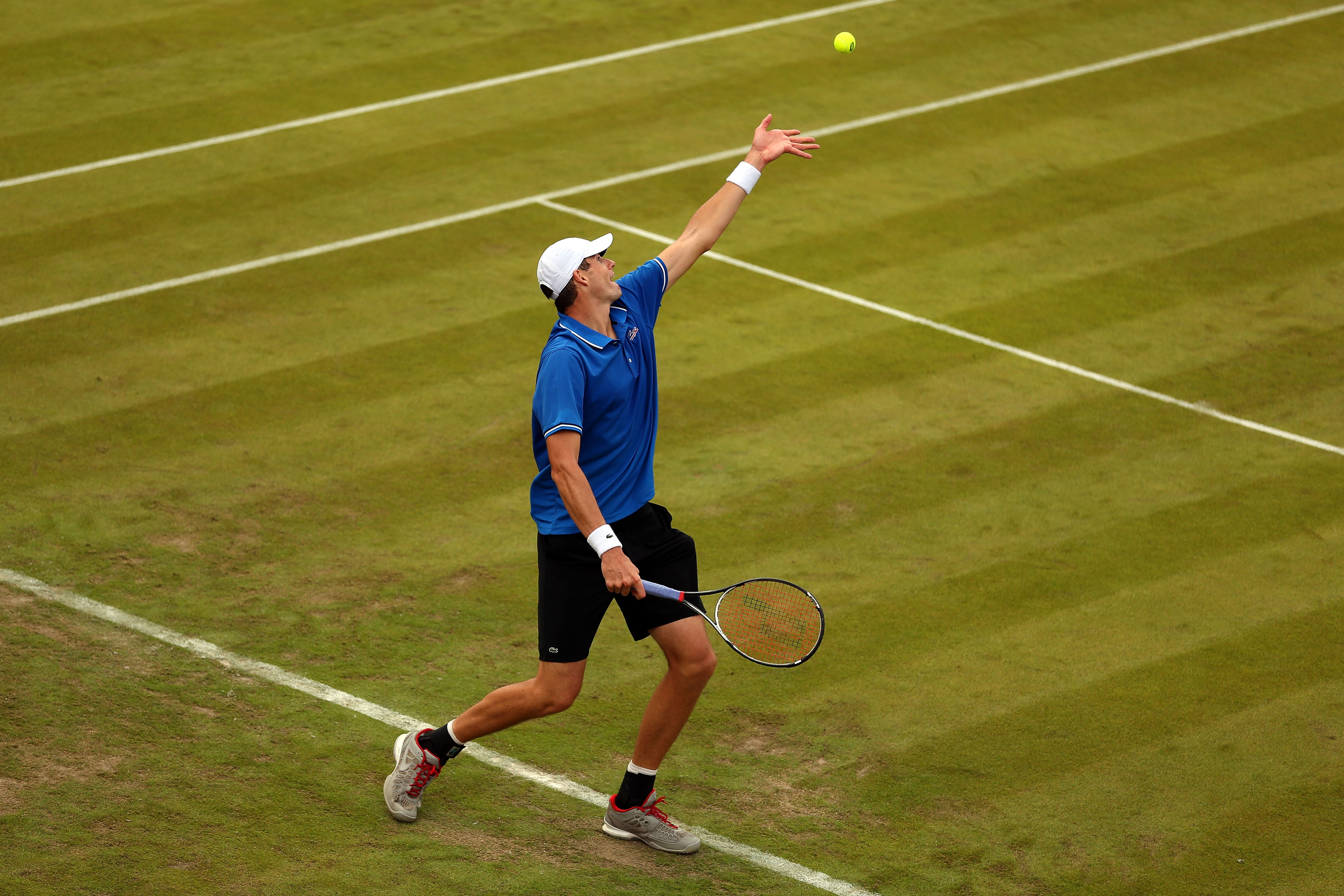 Georgia's John Isner (USA) advanced in straight sets in tennis singles action.