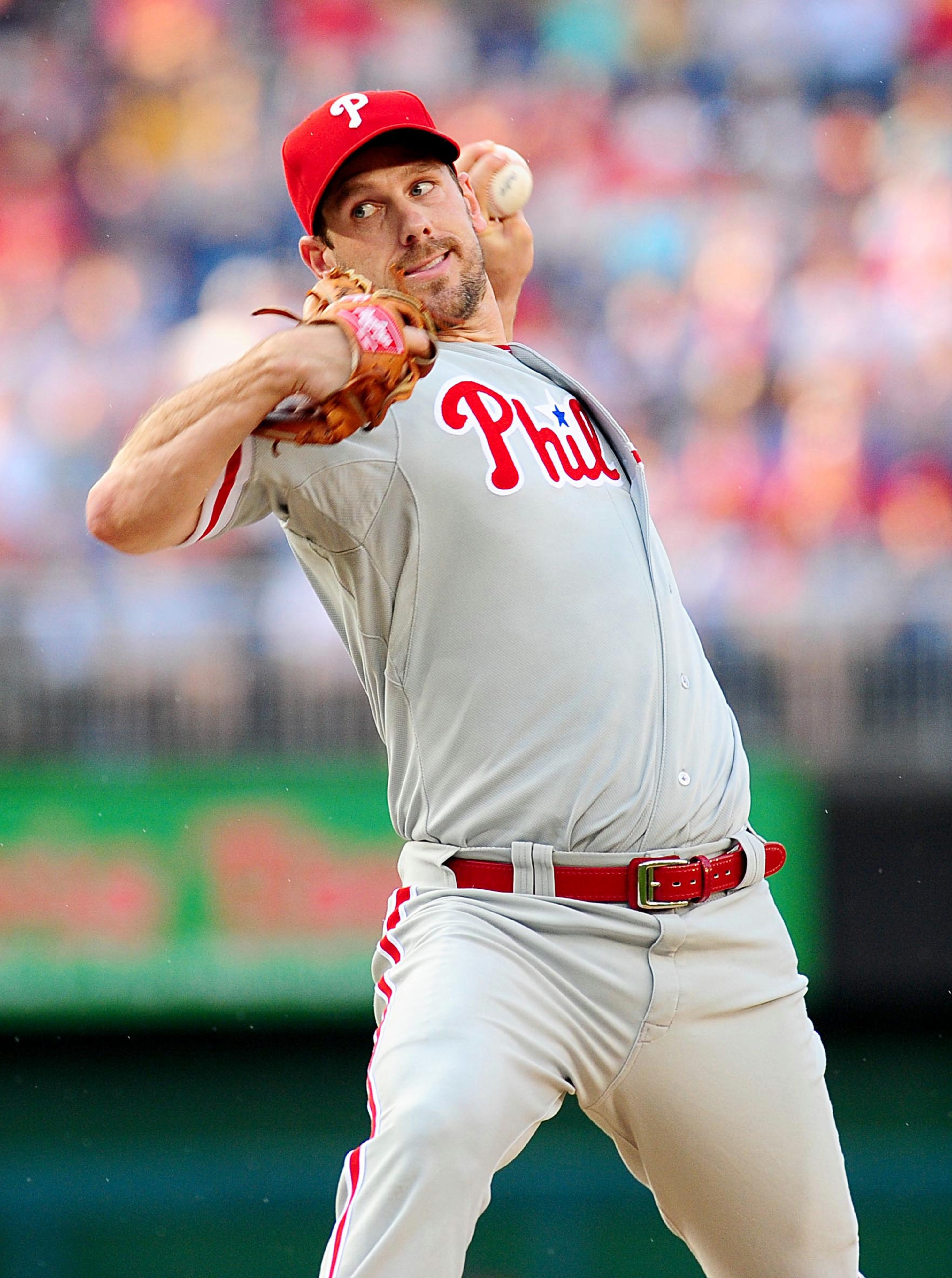 July 31, 2012; Washington, DC, USA; Philadelphia Phillies pitcher Cliff Lee (33) throws a pitch during the game against the Washington Nationals at Nationals Park. Mandatory Credit: Evan Habeeb-US PRESSWIRE