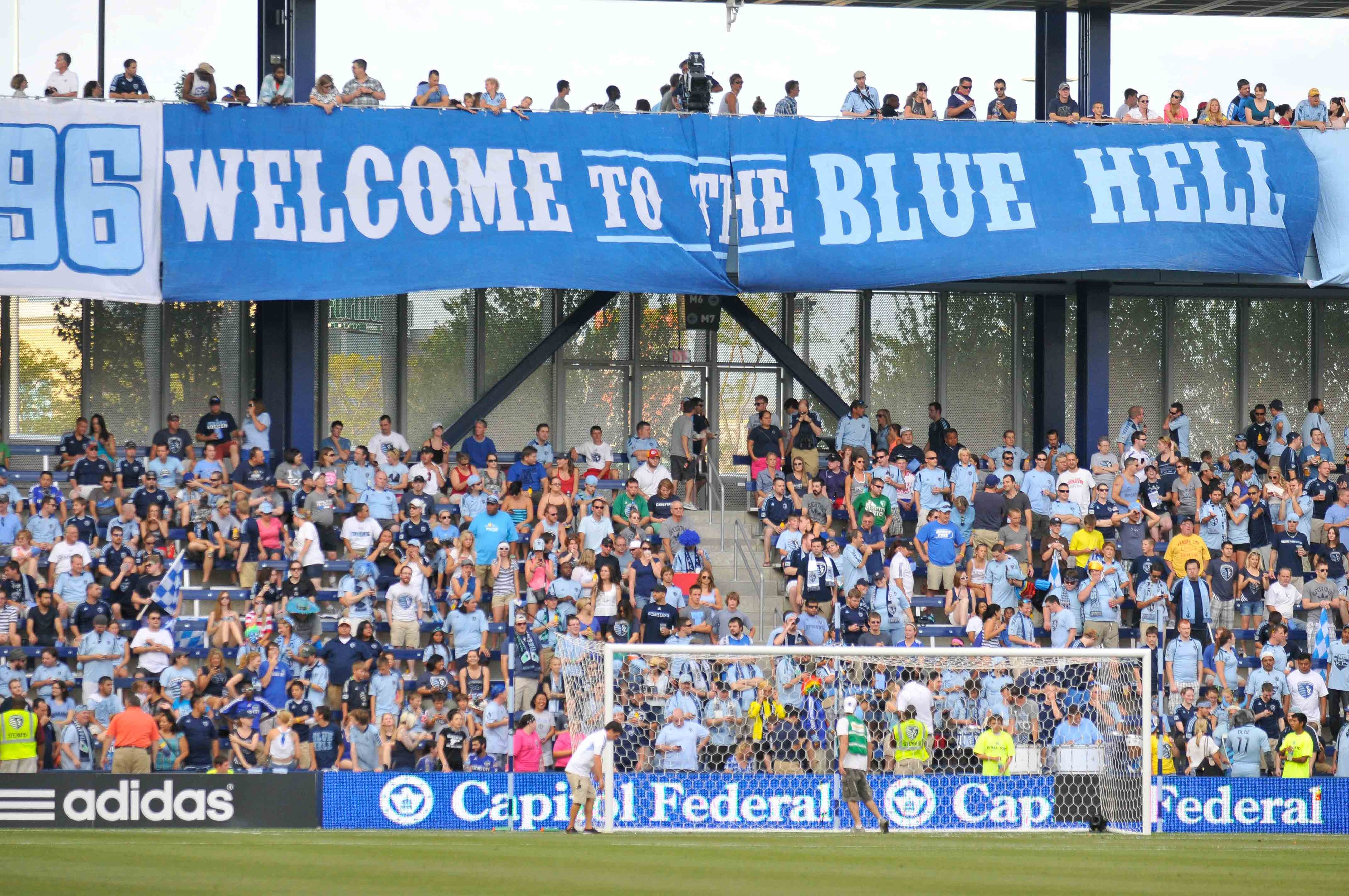July 28, 2012; Kansas City, KS, USA; Fans before the soccer match between Sporting KC and the Columbus Crew at LIVESTRONG Sporting Park. Columbus won the match 2-1. Mandatory Credit: Denny Medley-US PRESSWIRE
