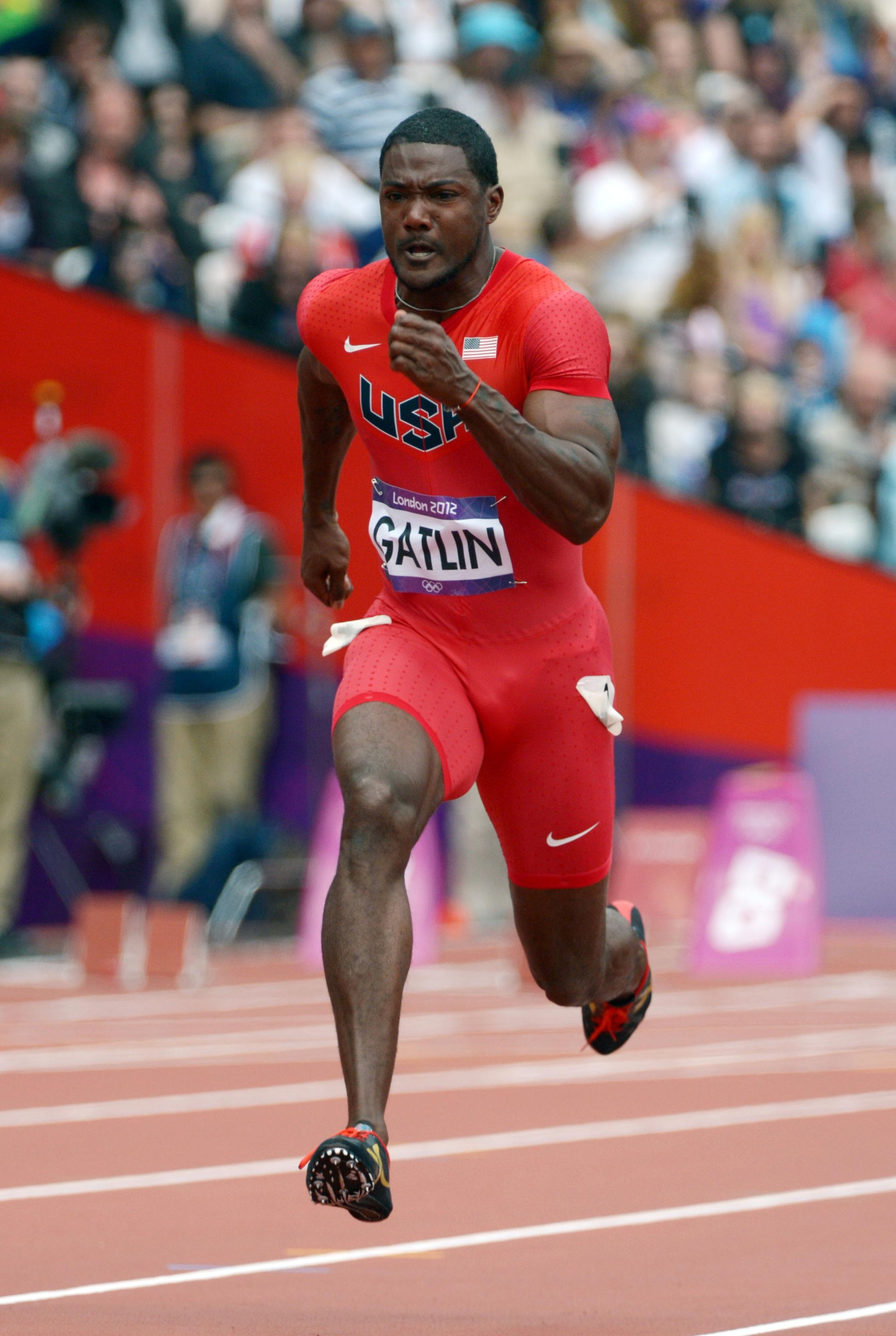 Tennessee' Justin Gatlin (USA) won bronze in the men's 100m.