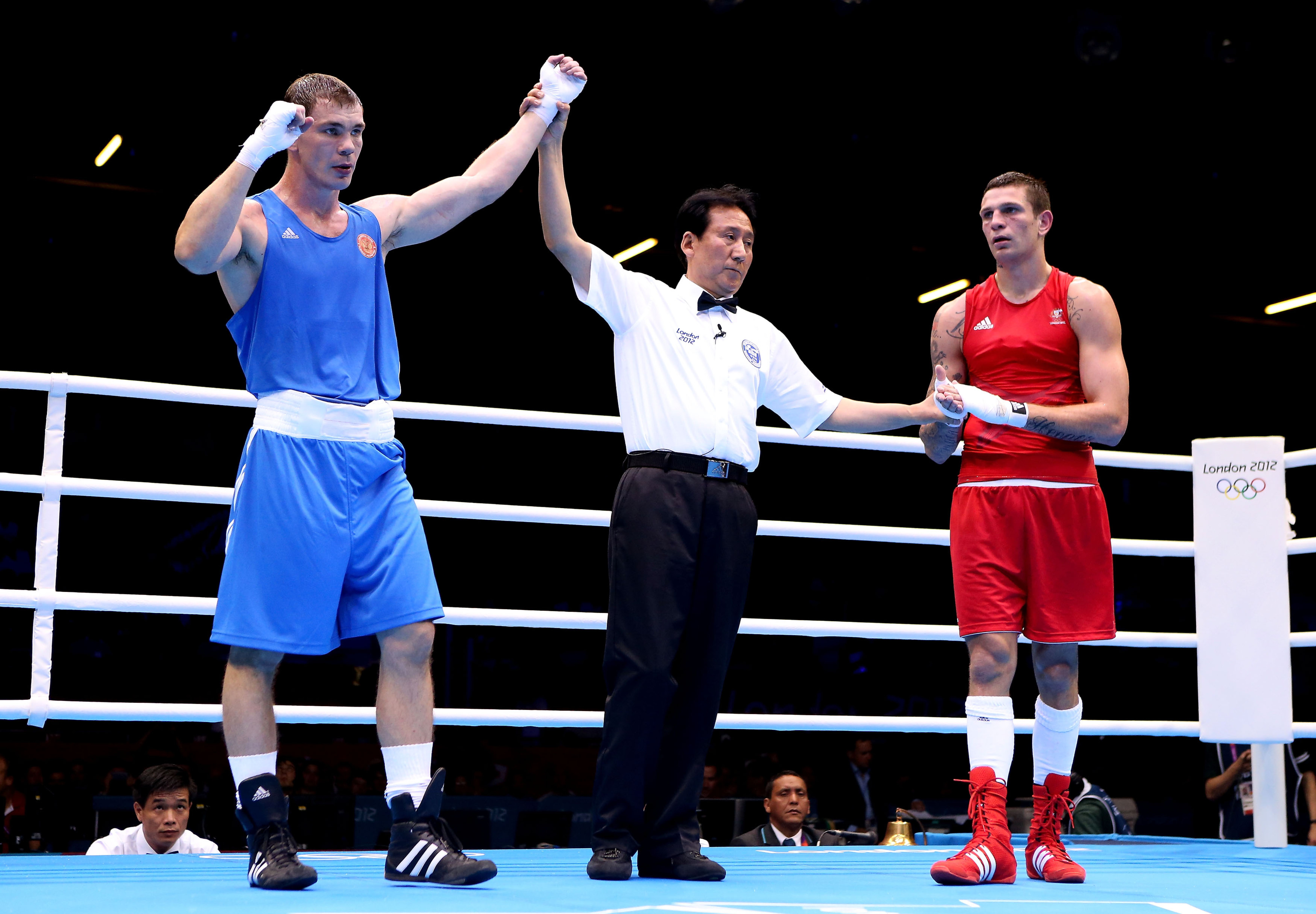 Egor Mekhontcev of Russia advanced to the light heavyweight final in London. (Photo by Scott Heavey/Getty Images)