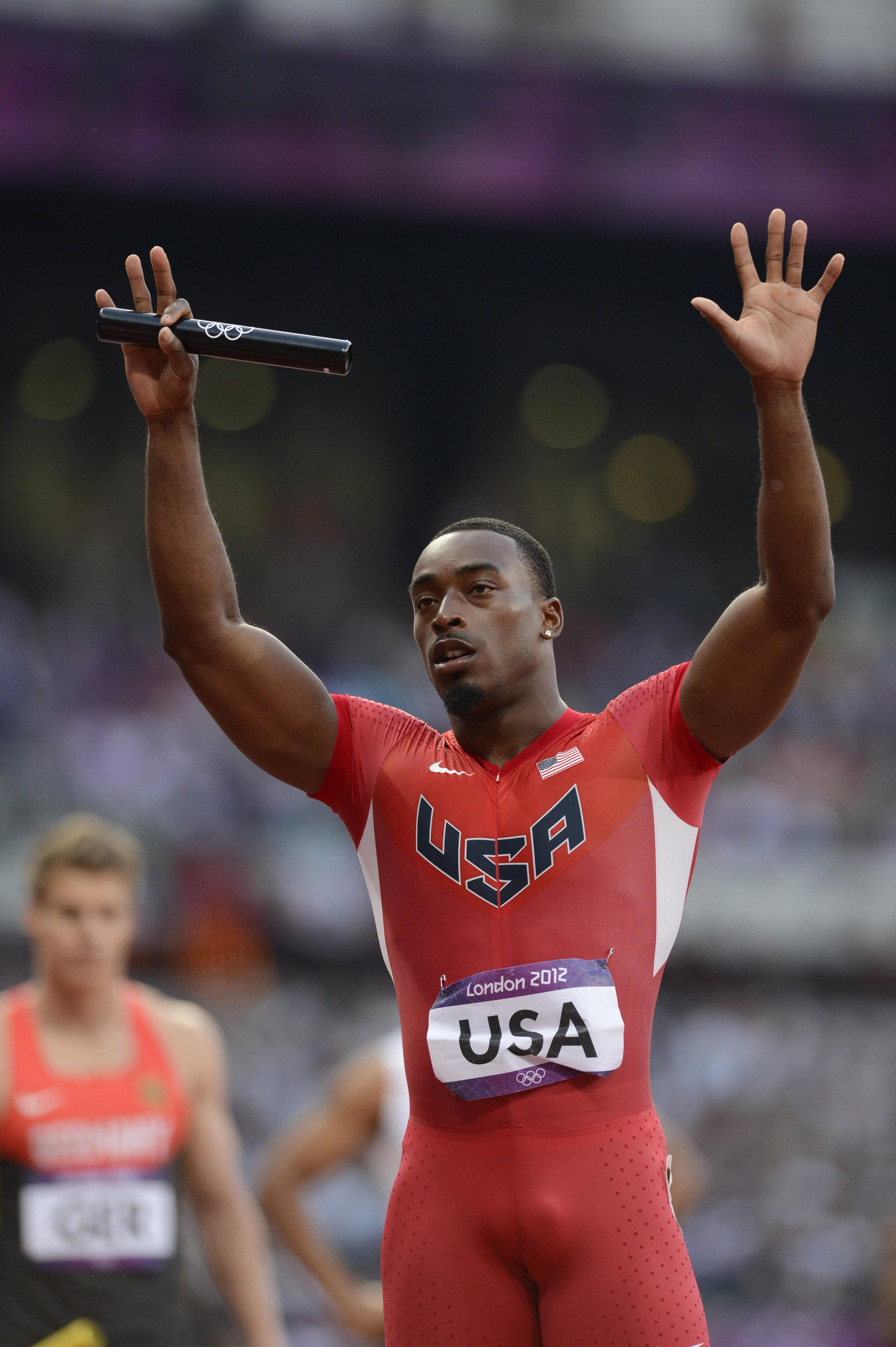 Aug 10, 2012; London, United Kingdom; Jeffrey Demps (USA) before competing in the men's 4x100m relay heats during the London 2012 Olympic Games at Olympic Stadium. Mandatory Credit: John David Mercer-USA TODAY Sports