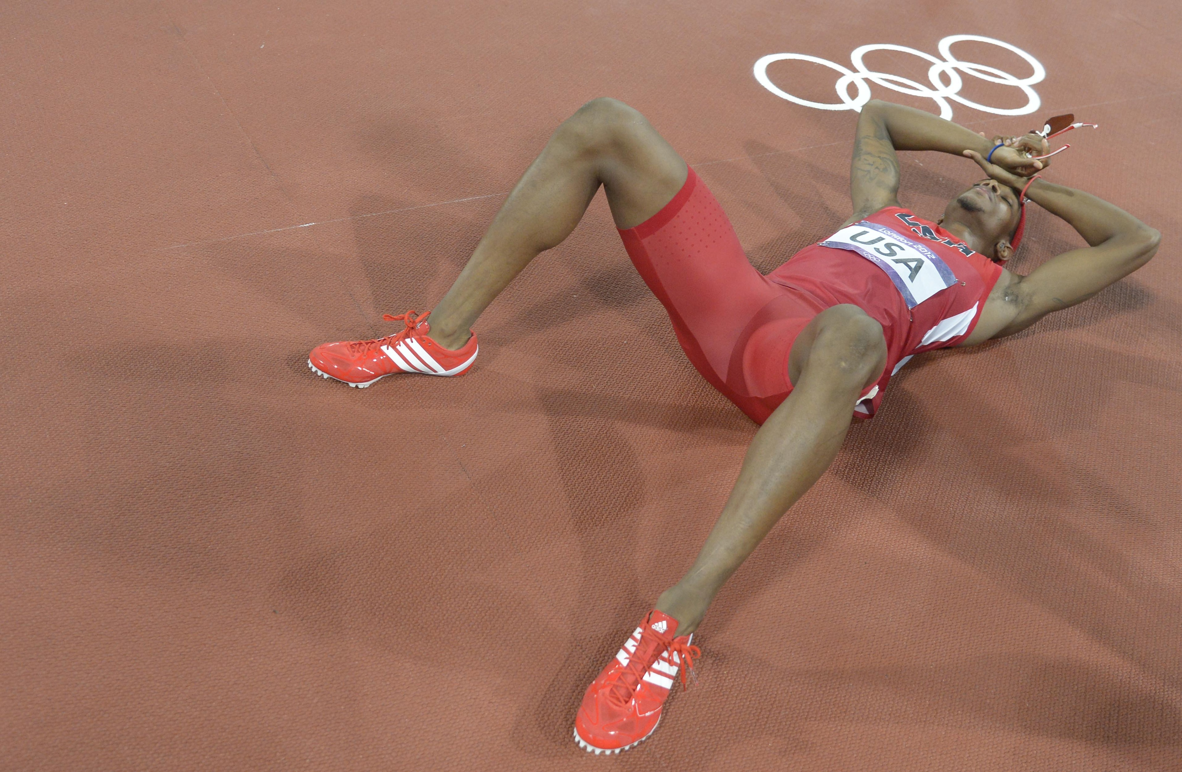 Aug 10, 2012; London, United Kingdom; Tony McQuay (USA) reacts after competing in the men's 4x400m relay final during the London 2012 Olympic Games at Olympic Stadium. Mandatory Credit: Kirby Lee-USA TODAY Sports