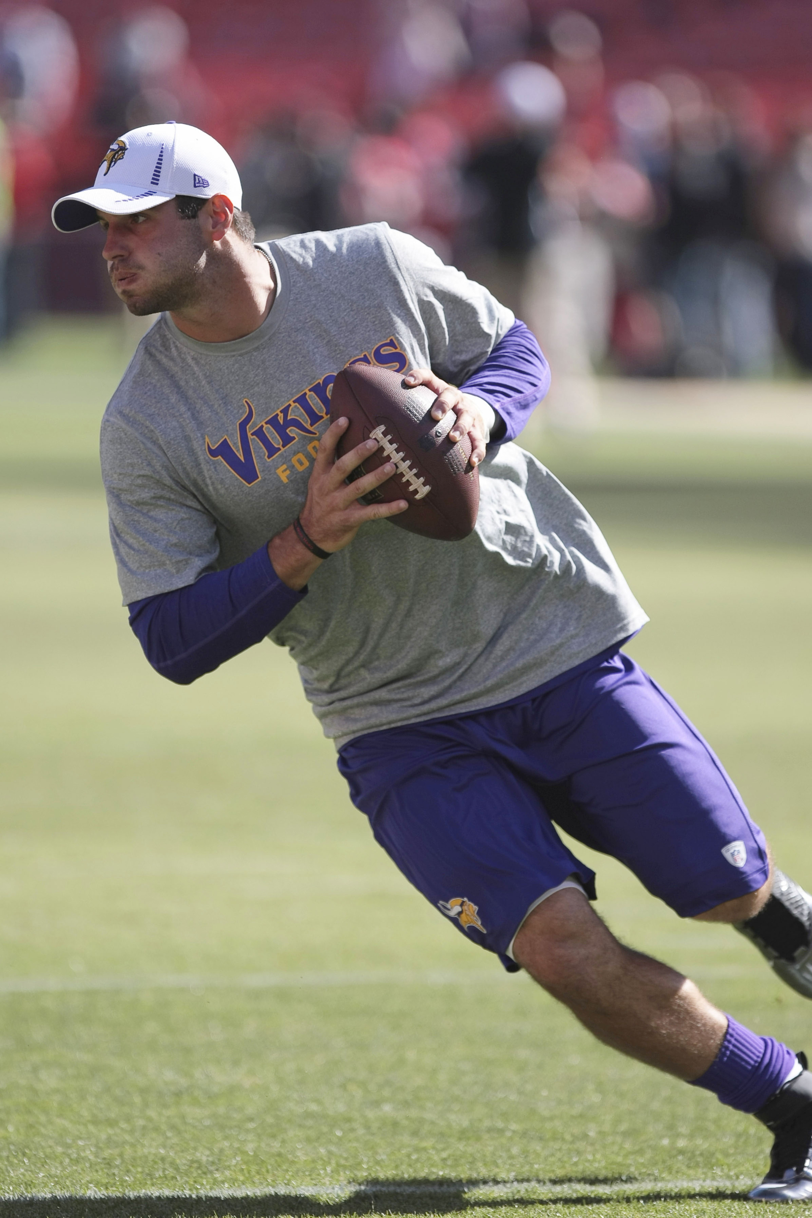 August 10, 2012; San Francisco, CA, USA; Minnesota Vikings quarterback Christian Ponder (7) warms up before the game against the San Francisco 49ers at Candlestick Park. Mandatory Credit: Kelley L Cox-US PRESSWIRE
