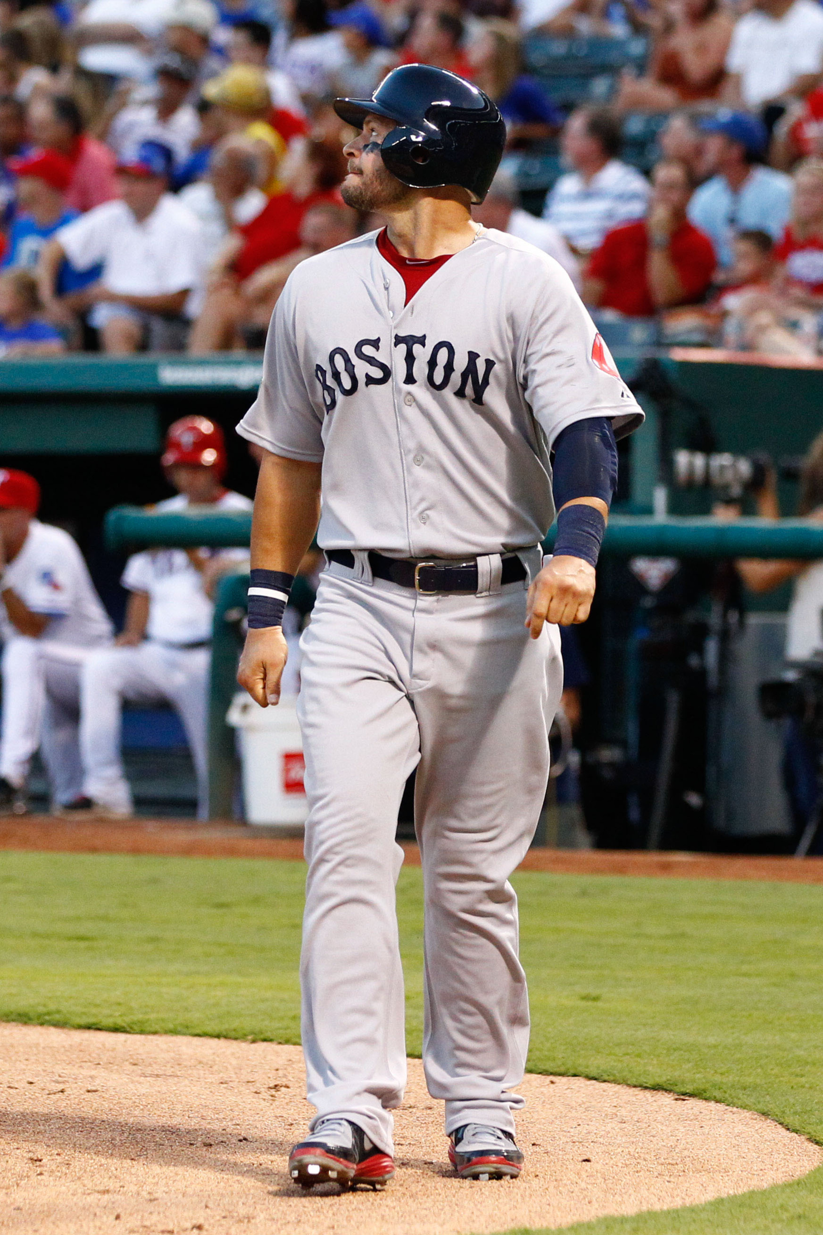 July 24, 2012; Arlington, TX, USA; Boston Red Sox right fielder Cody Ross (7) during the game against the Texas Rangers in the fourth inning at Rangers Ballpark in Arlington. Mandatory Credit: Jim Cowsert-US PRESSWIRE