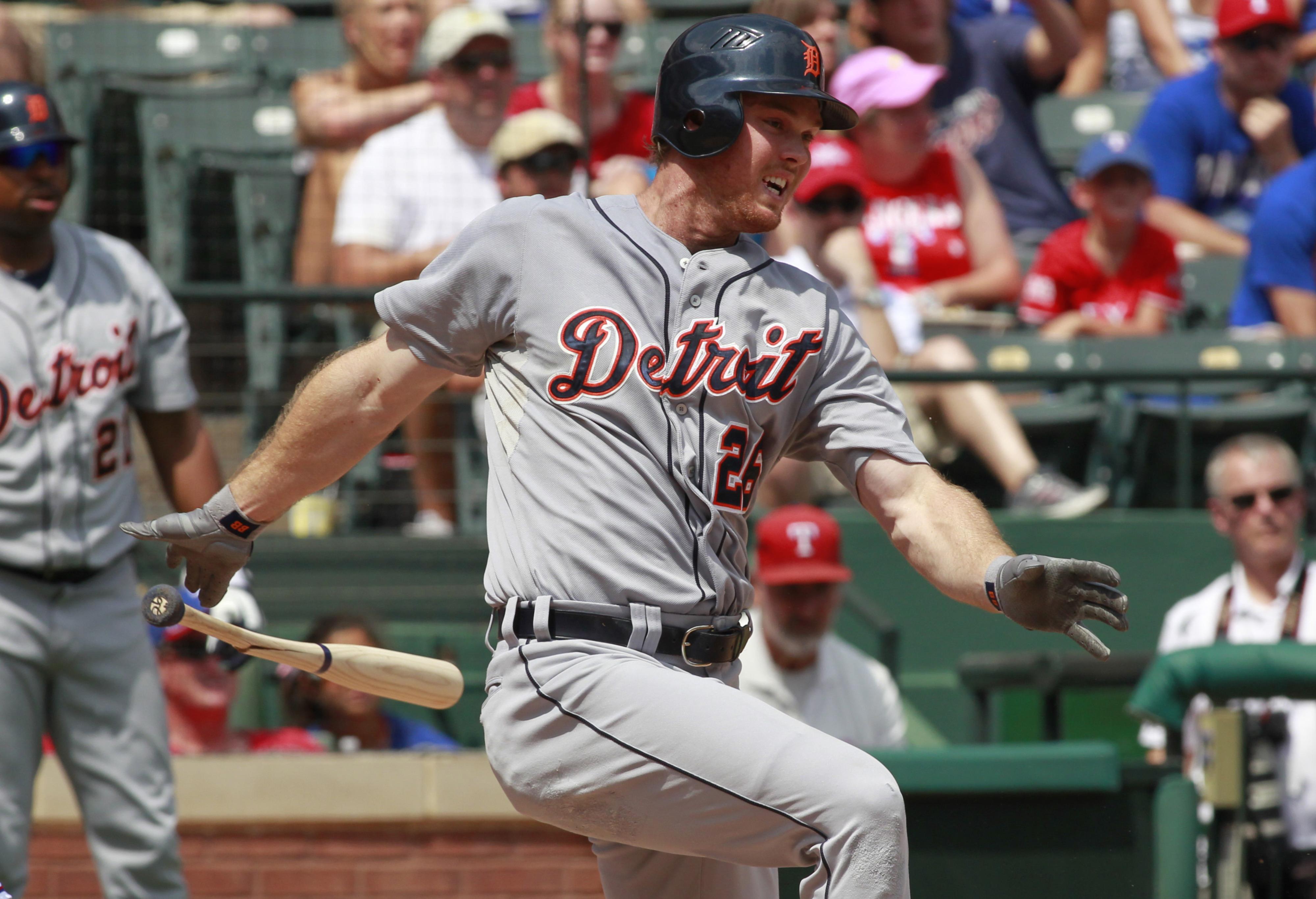 Aug 12, 2012; Arlington, TX, USA; Detroit Tigers right fielder Brennan Boesch (26) at bat during the game against the Texas Rangers  at Rangers Ballpark. Mandatory Credit: Tim Heitman-US PRESSWIRE