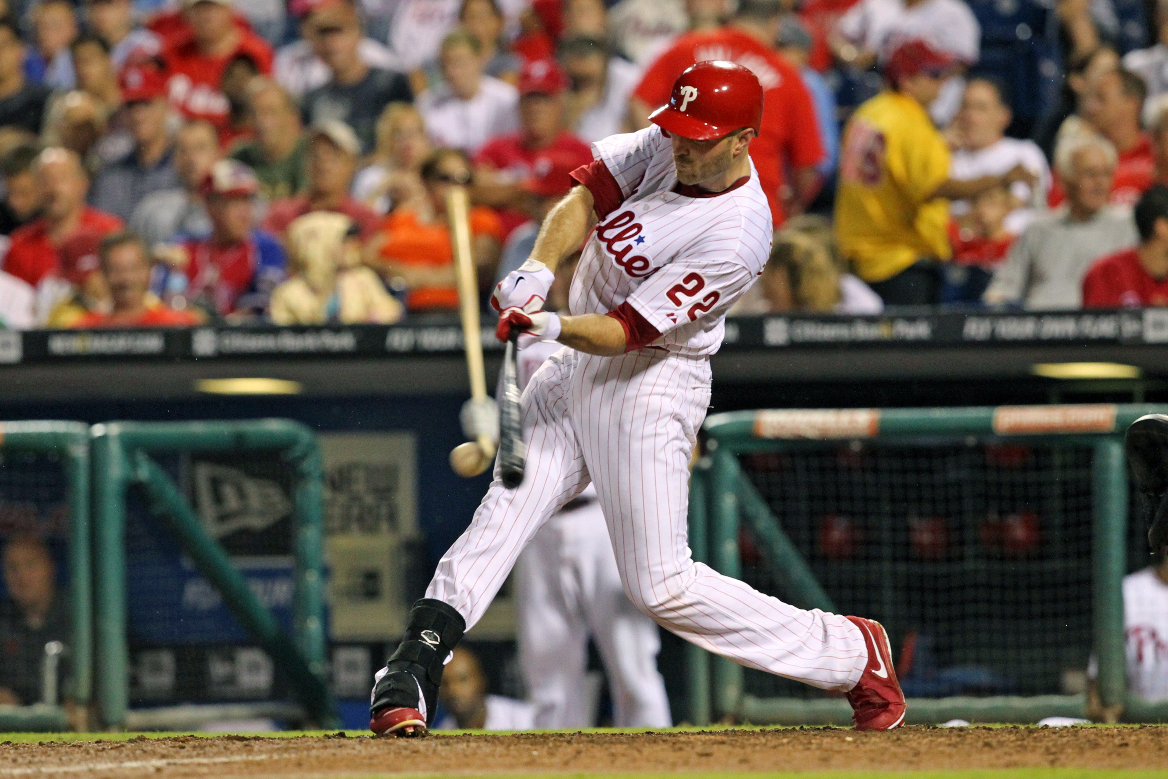 Nate Schierholtz #22 of the Philadelphia Phillies (Photo by Hunter Martin/Getty Images)