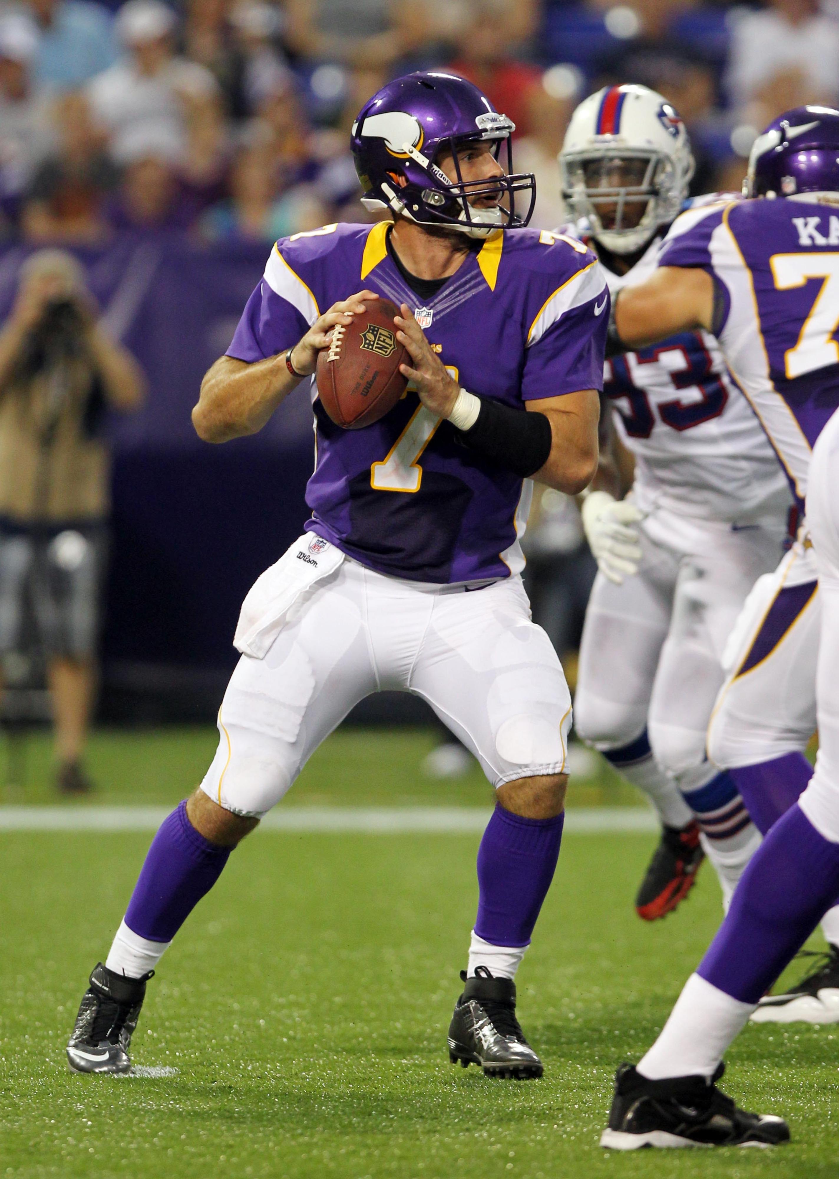 Aug 17, 2012; Minneapolis, MN, USA; Minnesota Vikings quarterback Christian Ponder (7) throws during the second quarter against the Buffalo Bills at the Metrodome. Mandatory Credit: Brace Hemmelgarn-US PRESSWIRE